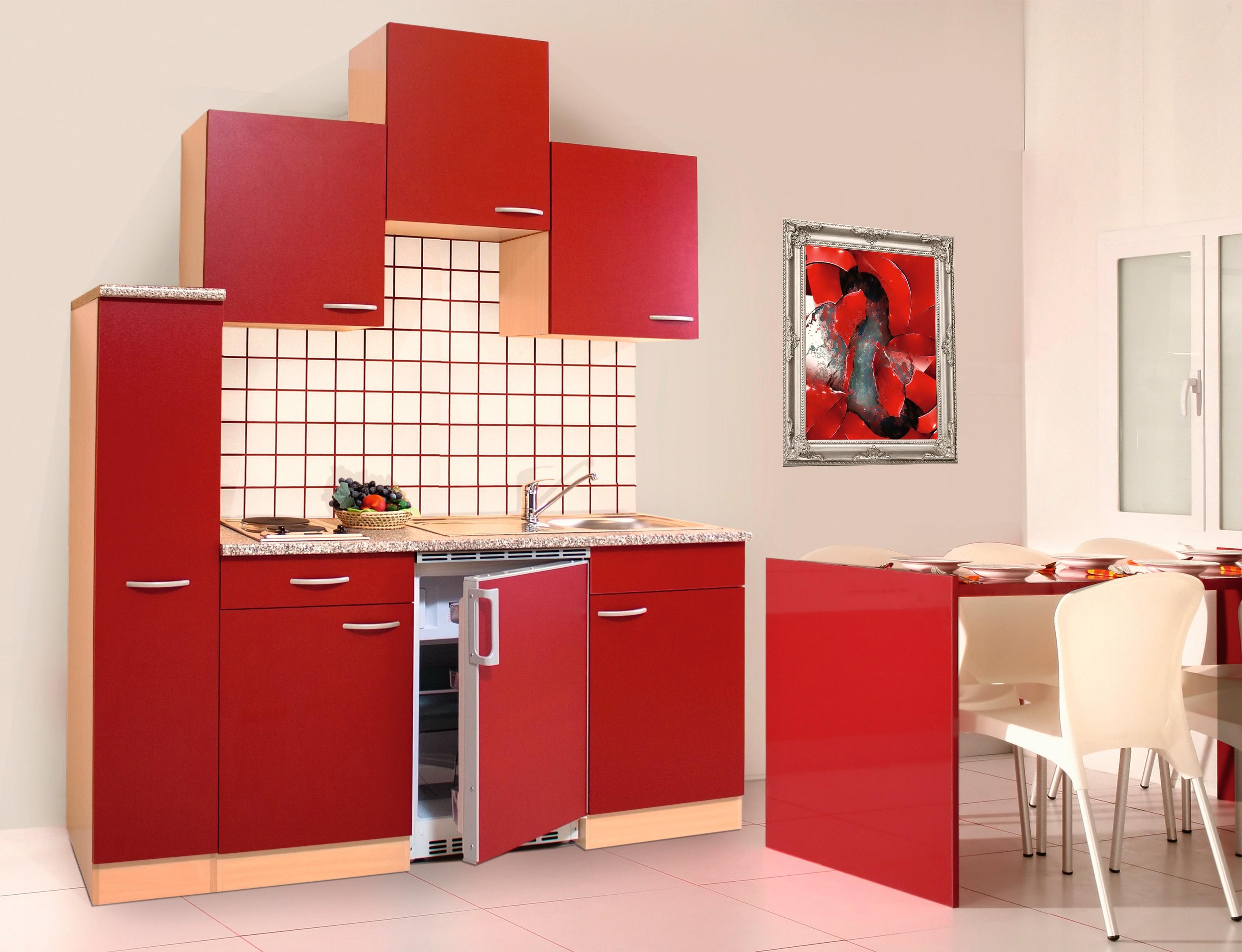 respekta Küche Singleküche Küchenzeile Küchenblock Miniküche 180 cm Buche rot