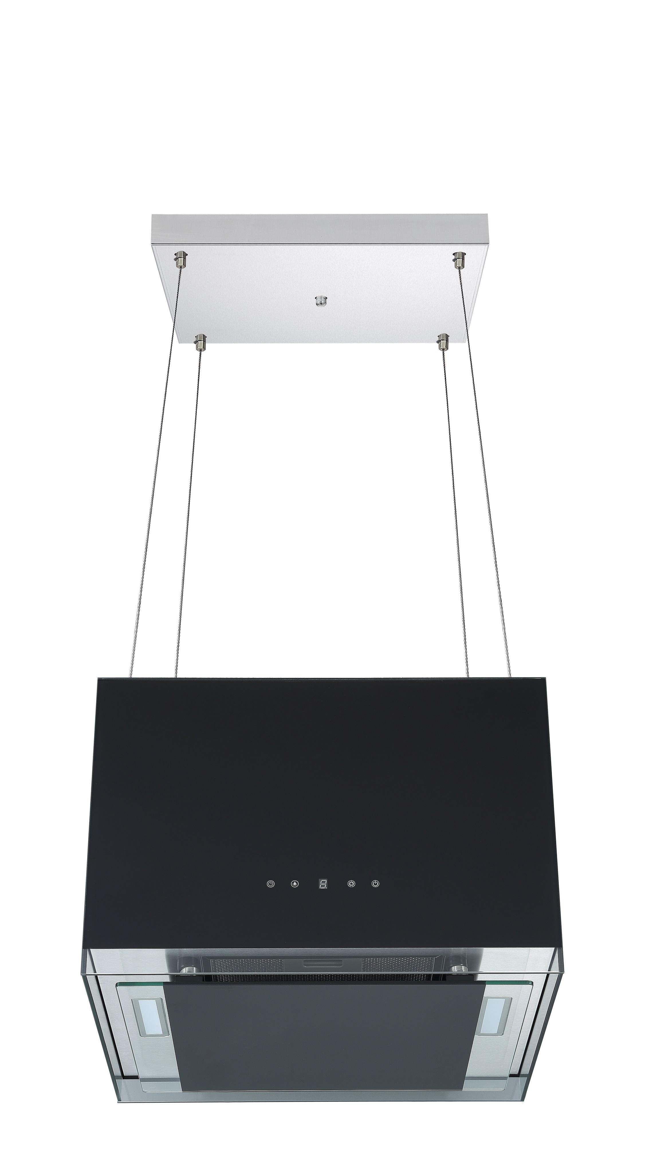 respekta Dunstabzugshaube Inselhaube freihängend 50cm Designhaube schwarz Touch