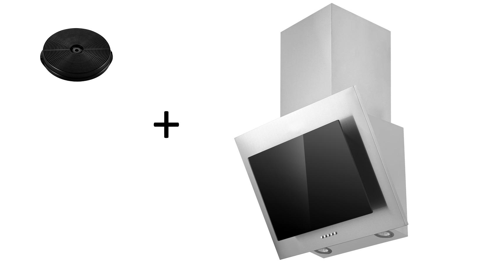 Dunstabzugshaube Schräghaube kopffrei schwarz 60 cm + Filter Umluftset respekta