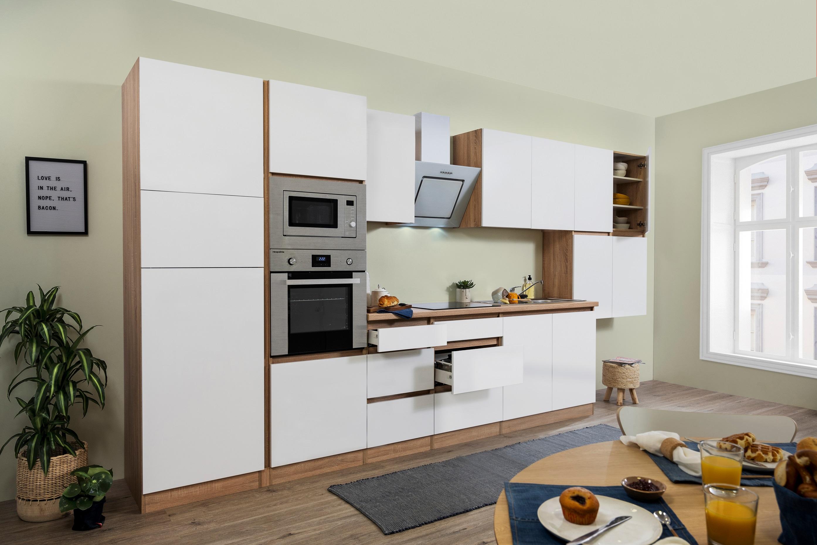 respekta Küche Küchenzeile Küchenblock grifflose Küche 435 cm Eiche Sonoma weiß