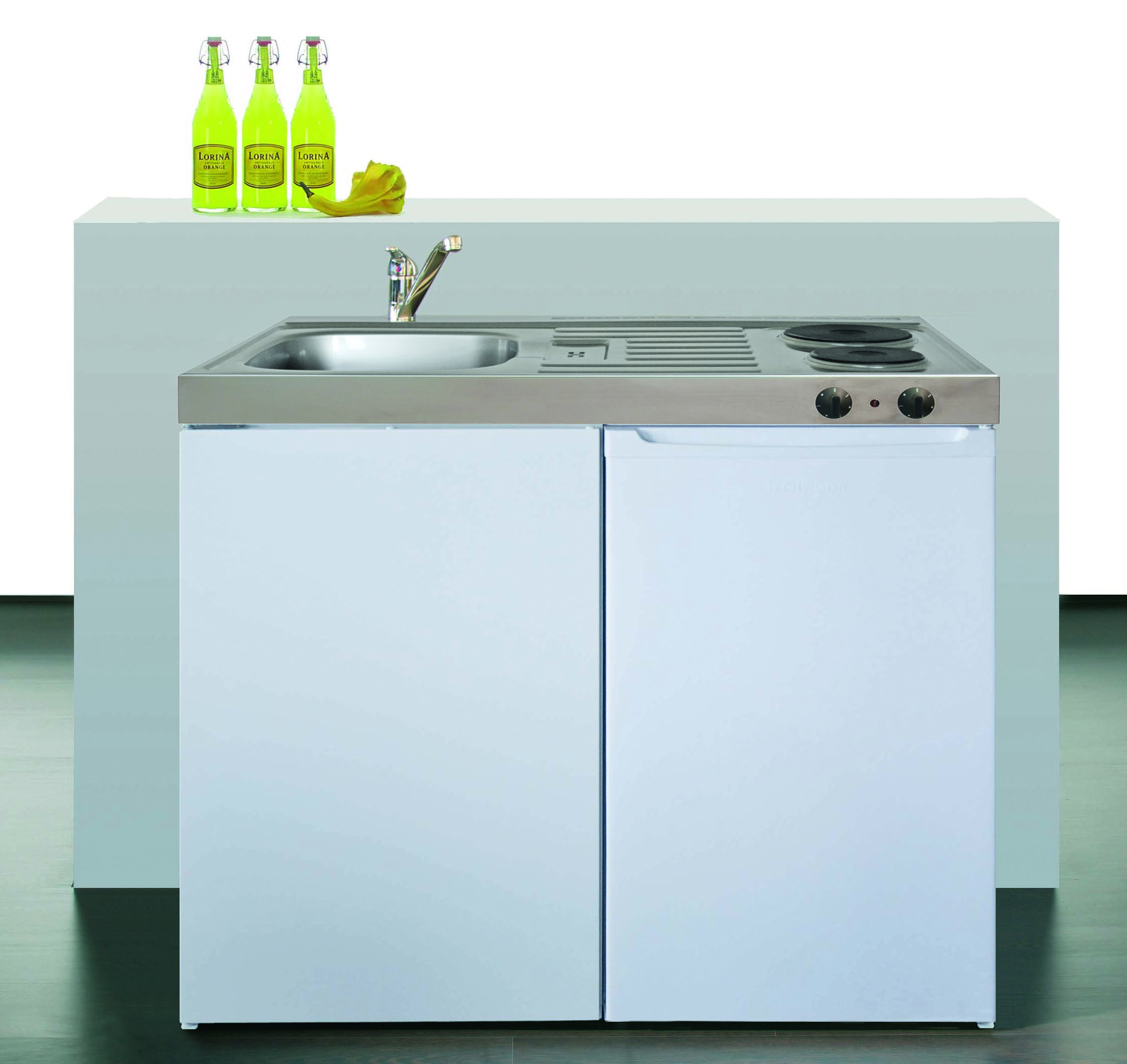 Stengel Miniküche Pantry Single Küche 100cm weiss Metall mit Becken rechts ME100
