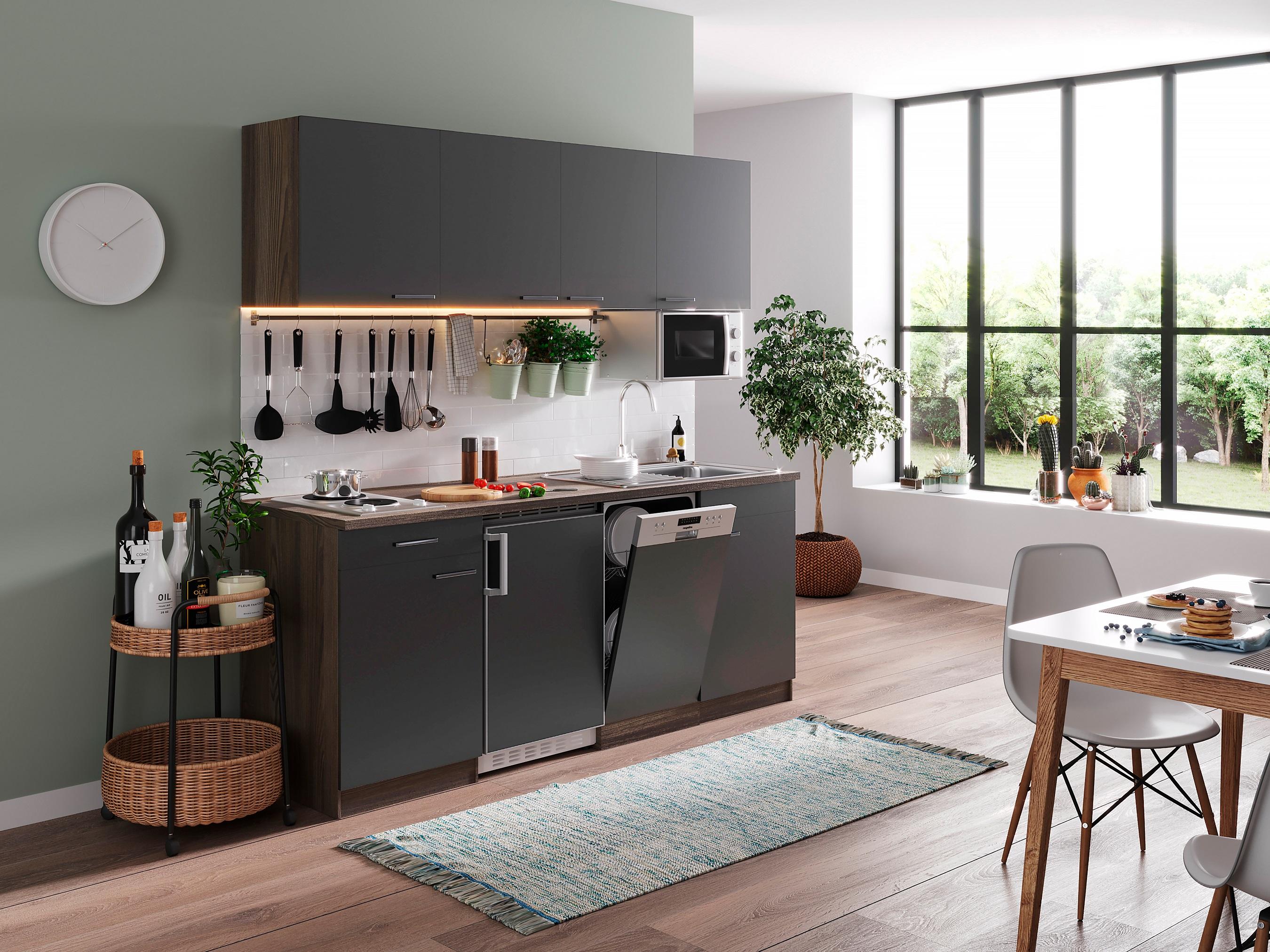 respekta Küche Küchenzeile Küchenblock Einbau Singleküche 195 cm Eiche York grau