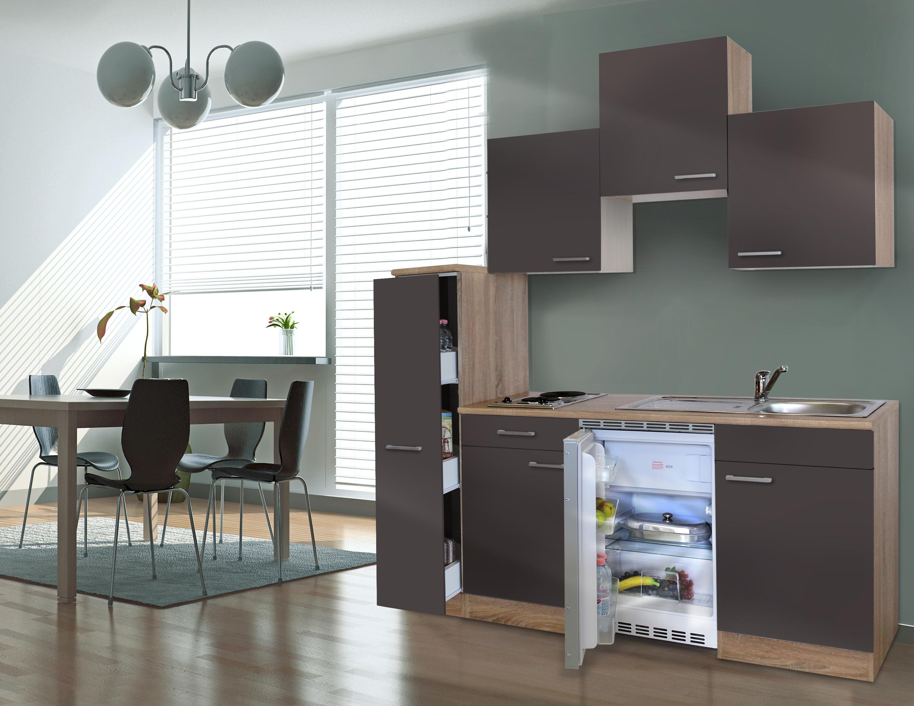 respekta Küche Singleküche Küchenzeile Küchenblock 180 cm Eiche Sägerau grau