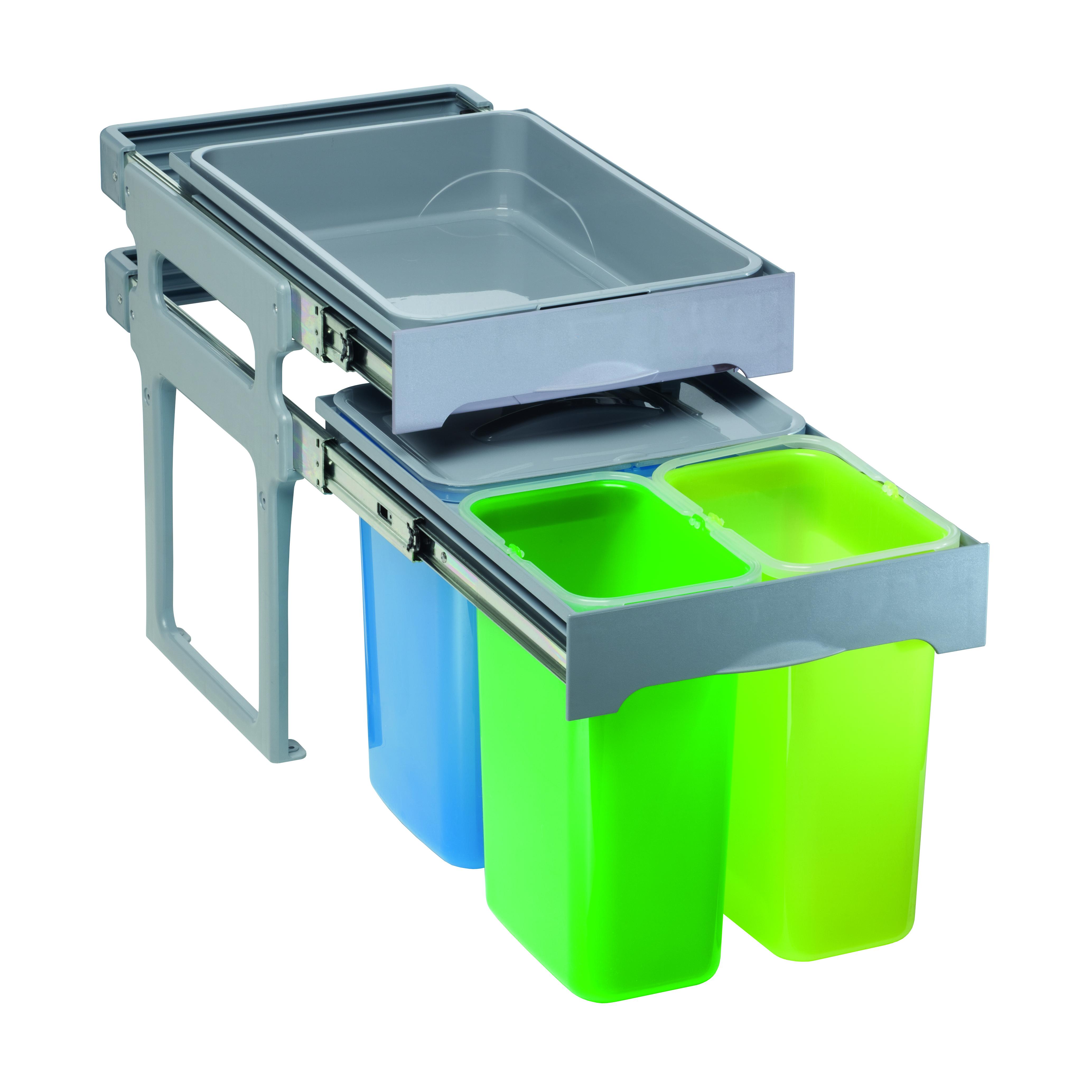 Abfallsammler Mülleimer 3-fach Mülltrennsystem Abfalleimer 45 cm Schrankbreite
