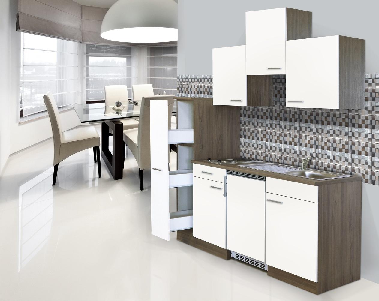 respekta Küche Singleküche Küchenzeile Einbau Küchenblock 180 cm Eiche York weiß