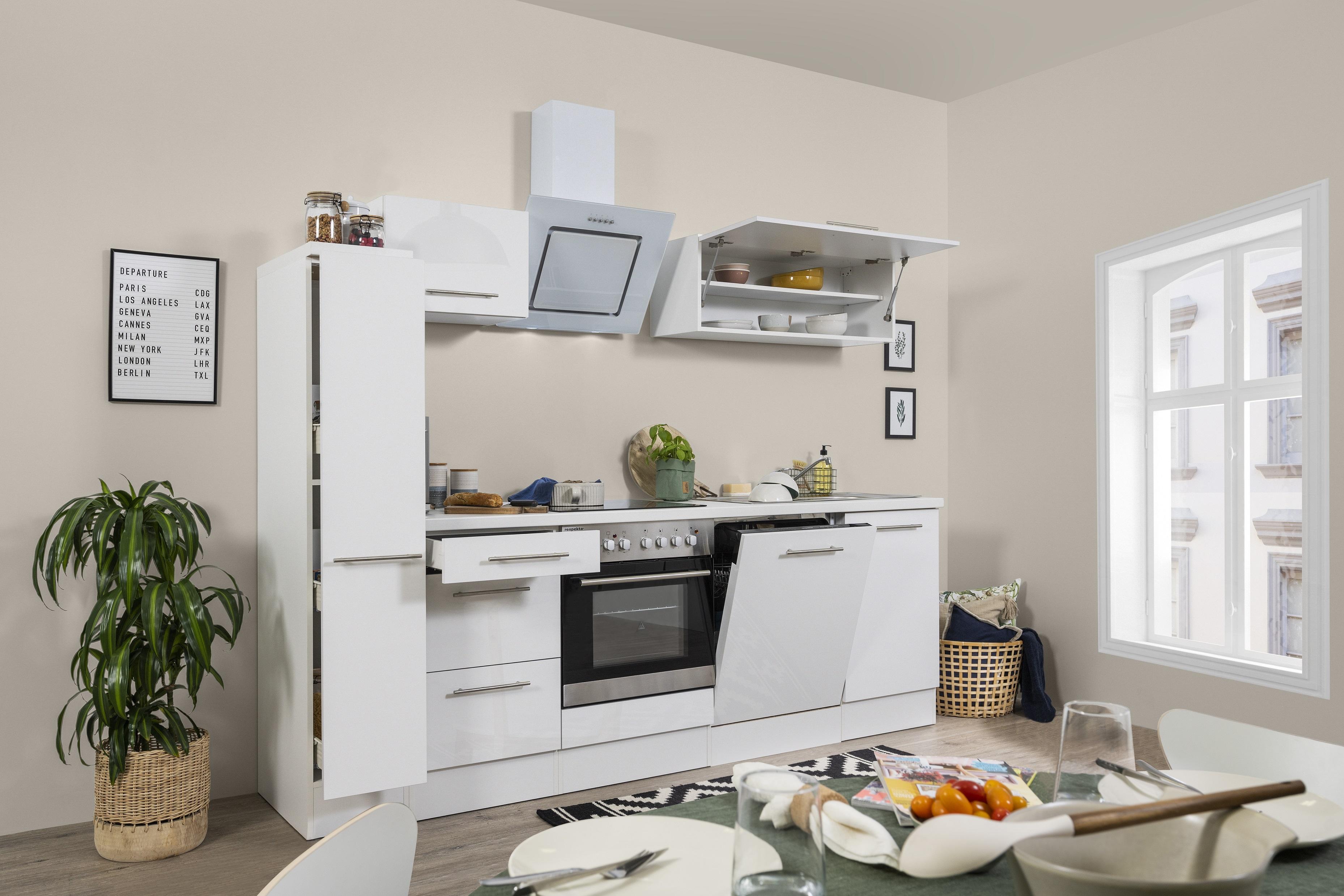 respekta Küchenzeile Küche Einbauküche Küchenblock Komplett Hochglanz 250cm weiß