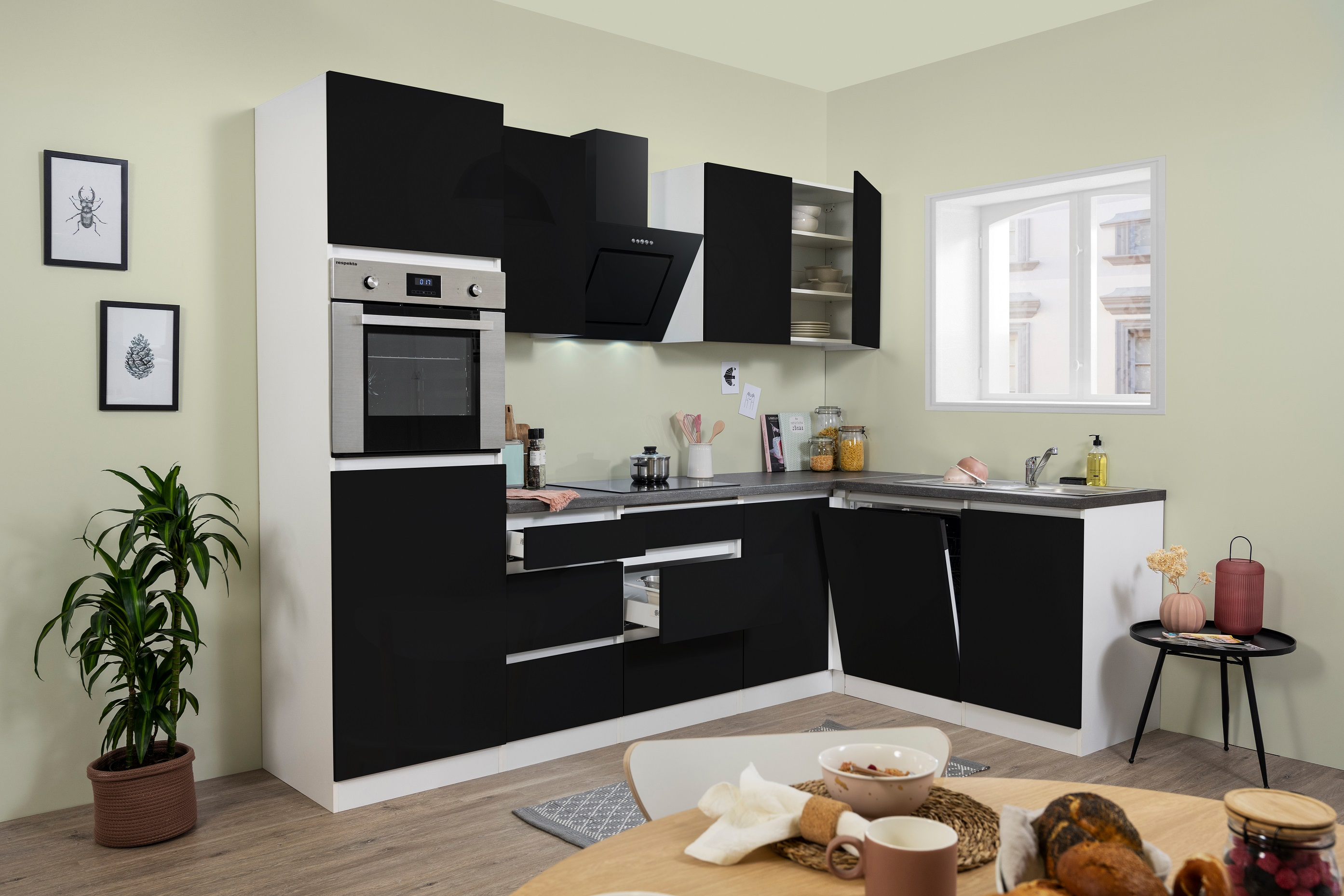 Winkelküche Küchenzeile Küche L-Form Küche grifflos schwarz 280x172 cm respekta