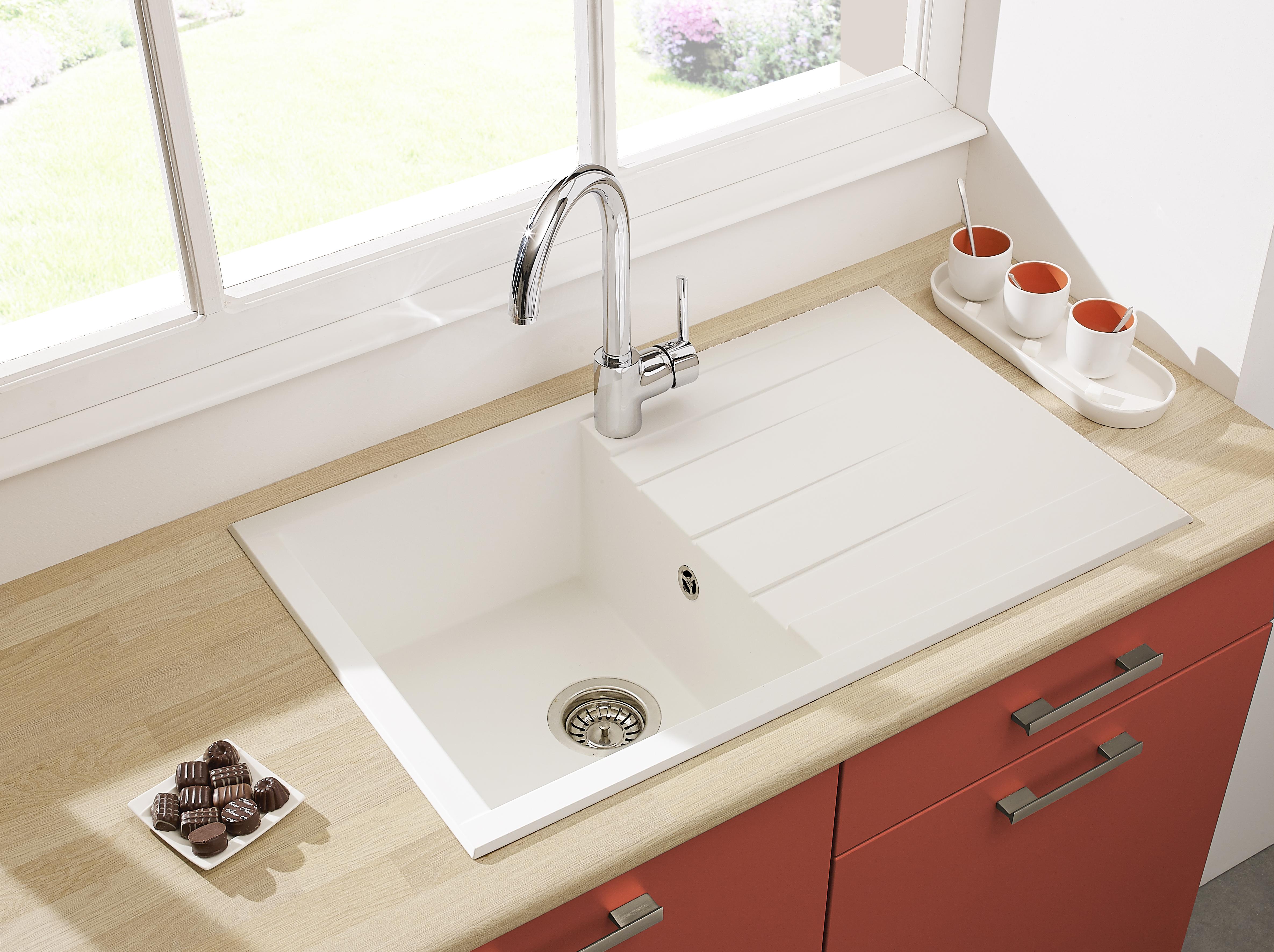 Spüle Küchenspüle Einbauspüle Granit Spülbecken Mineralite 80 x 50 weiß respekta