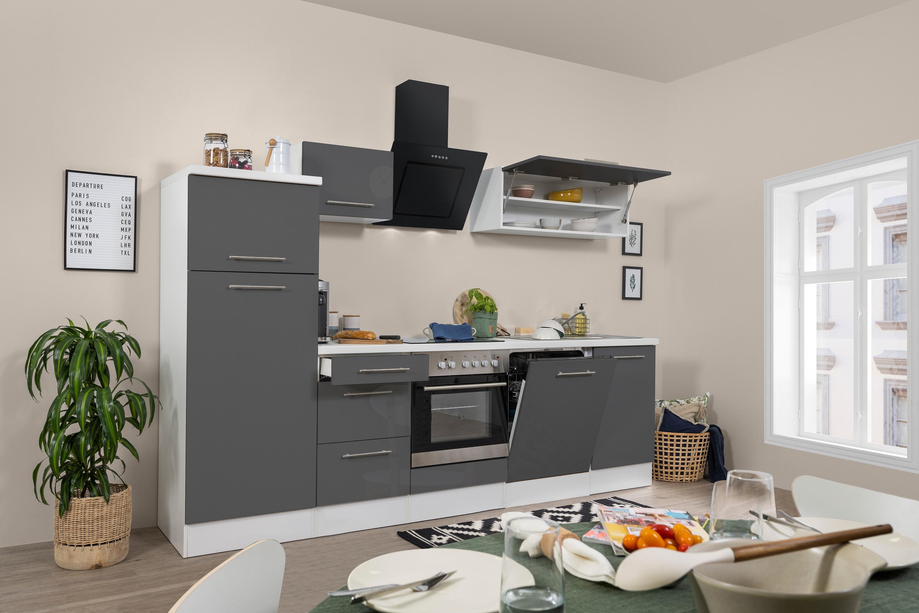 respekta Küchenzeile Küche Küchenblock Einbauküche Hochglanz 280 cm weiß grau