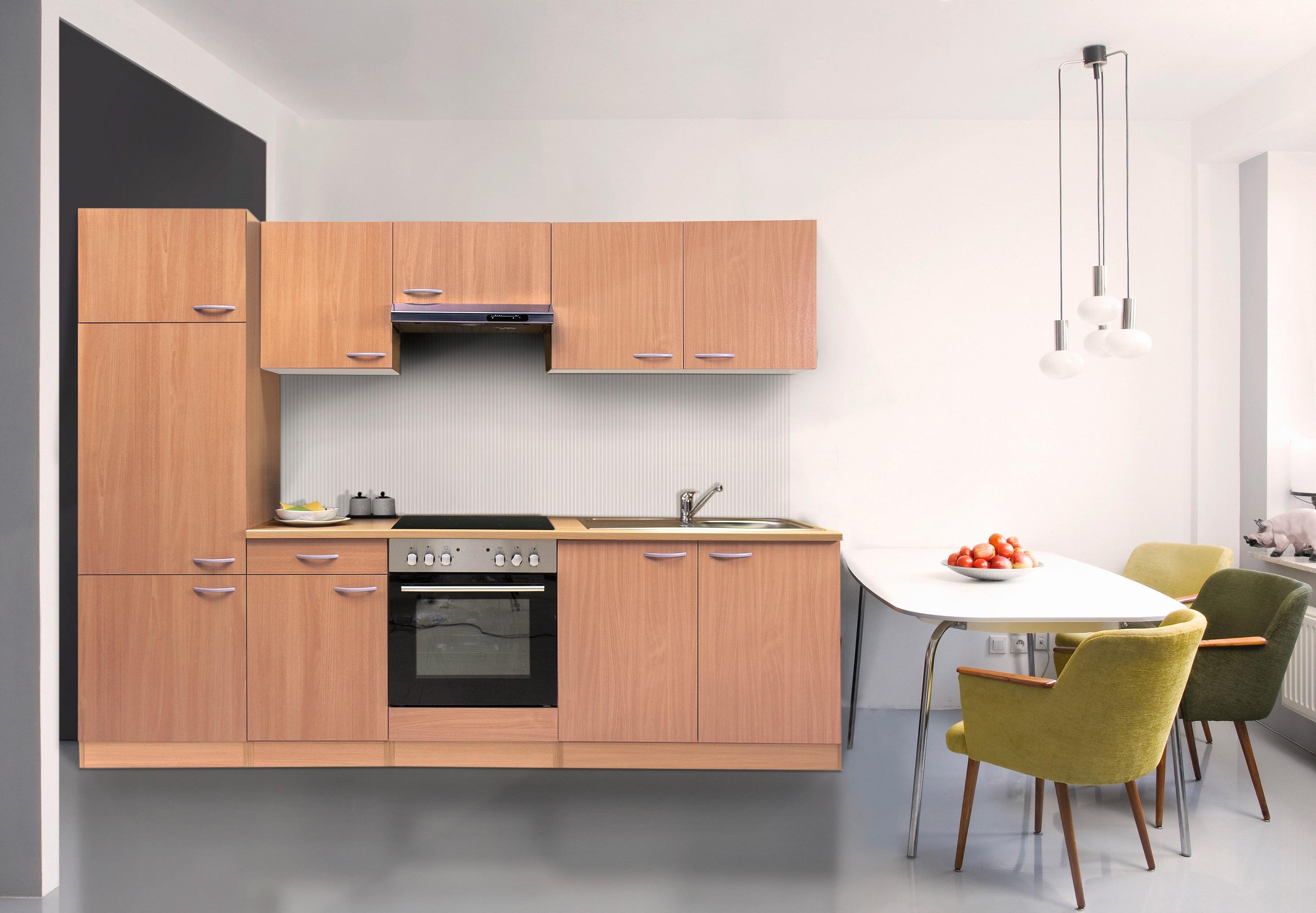 respekta Küche Küchenzeile Küchenblock Einbauküche Leerblock 270 cm Buche