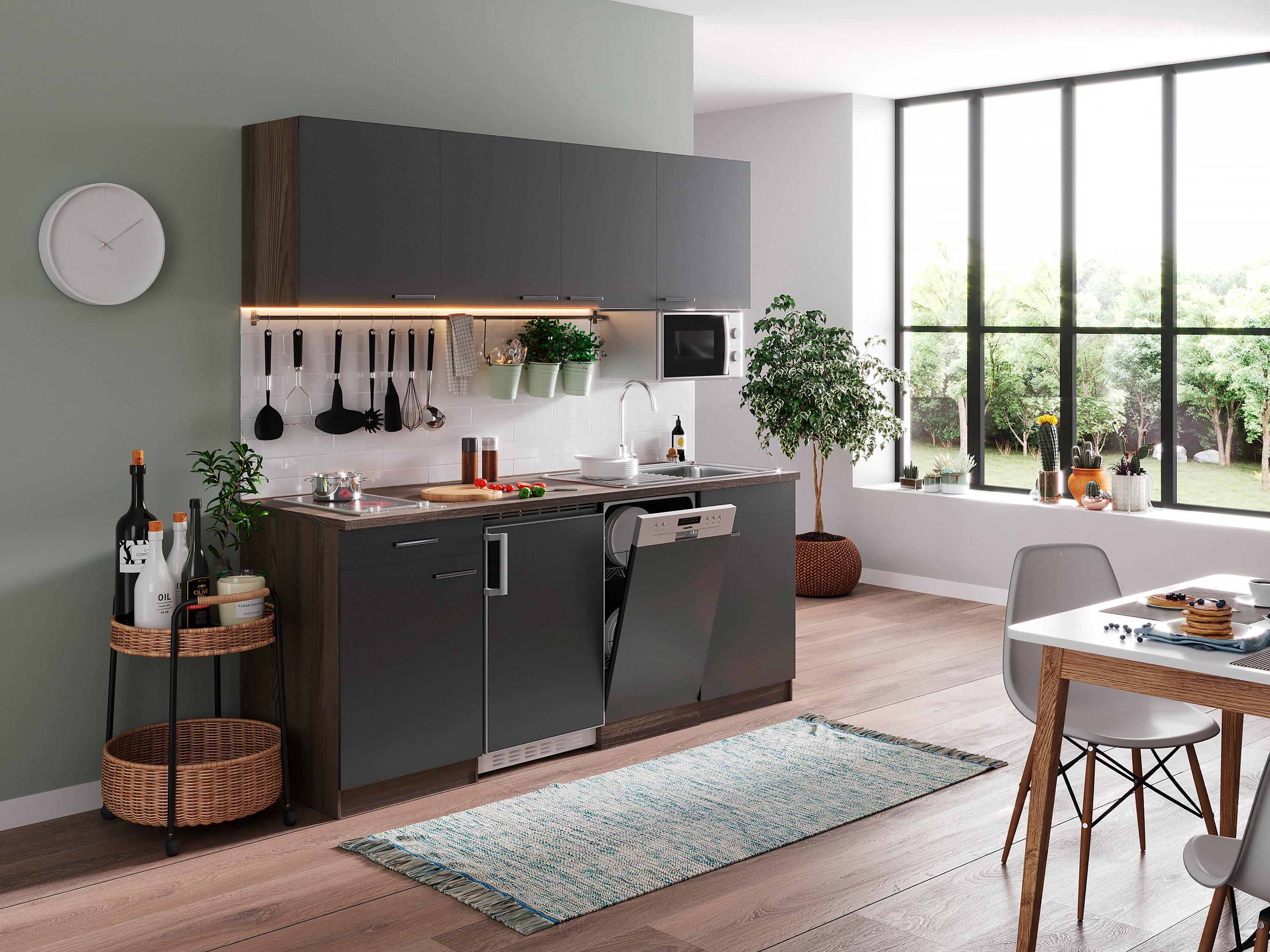 respekta Küche Küchenzeile Küchenblock Einbauküche Single 195 cm Eiche York grau