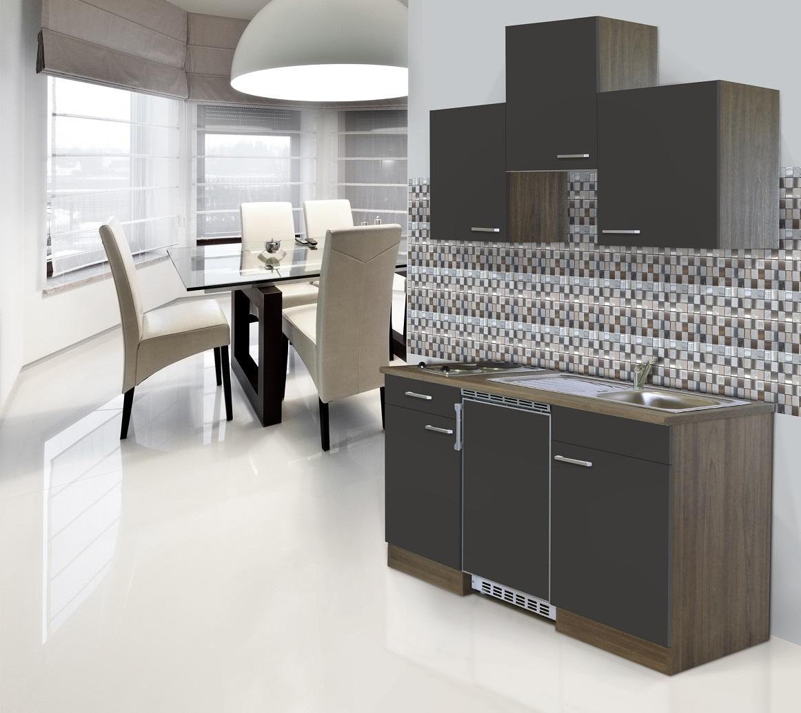 respekta Küche Küchenzeile Küchenblock Single Miniküche 150 cm Eiche York grau