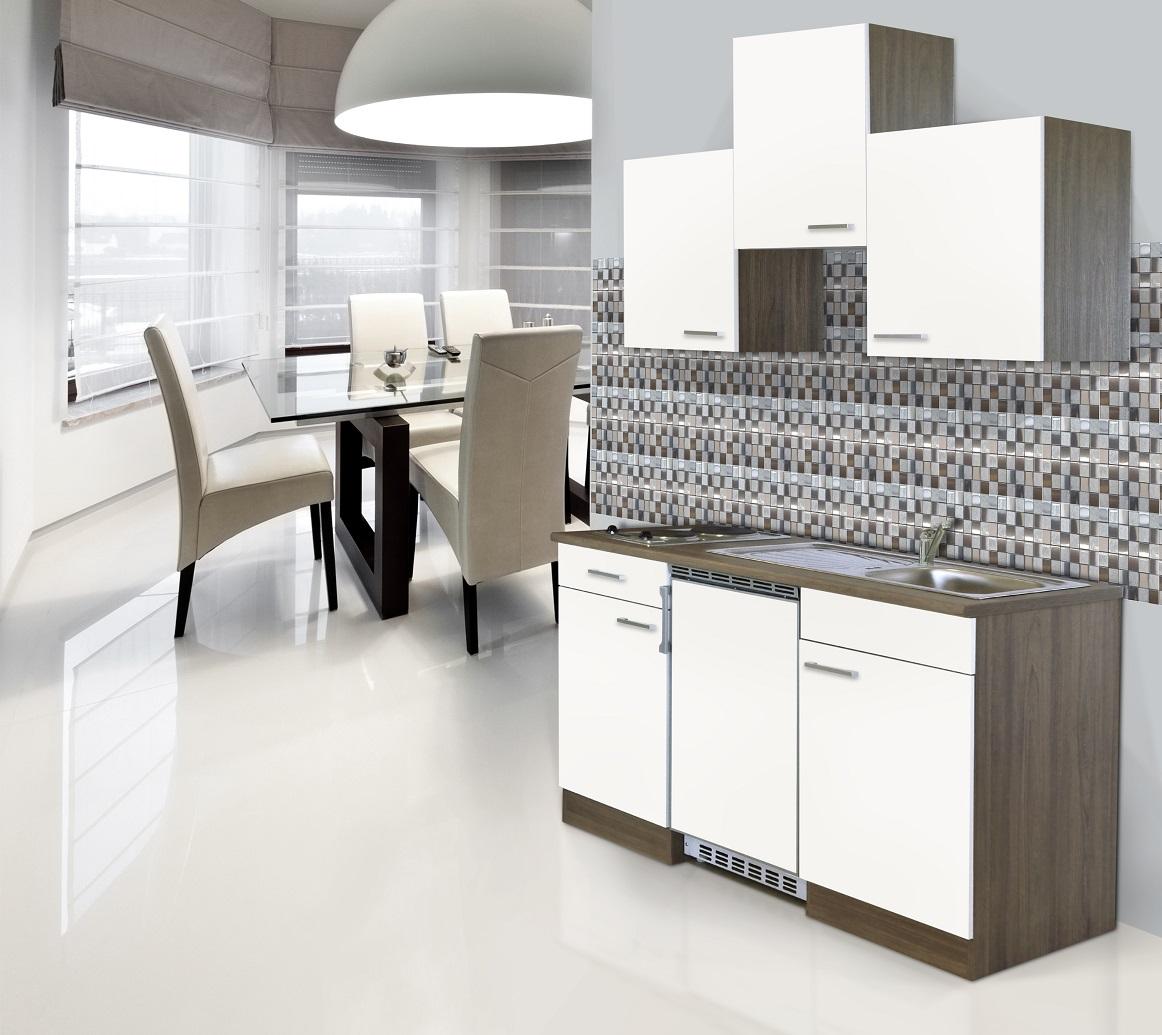respekta Küche Küchenzeile Küchenblock Single Miniküche 150 cm Eiche York weiß