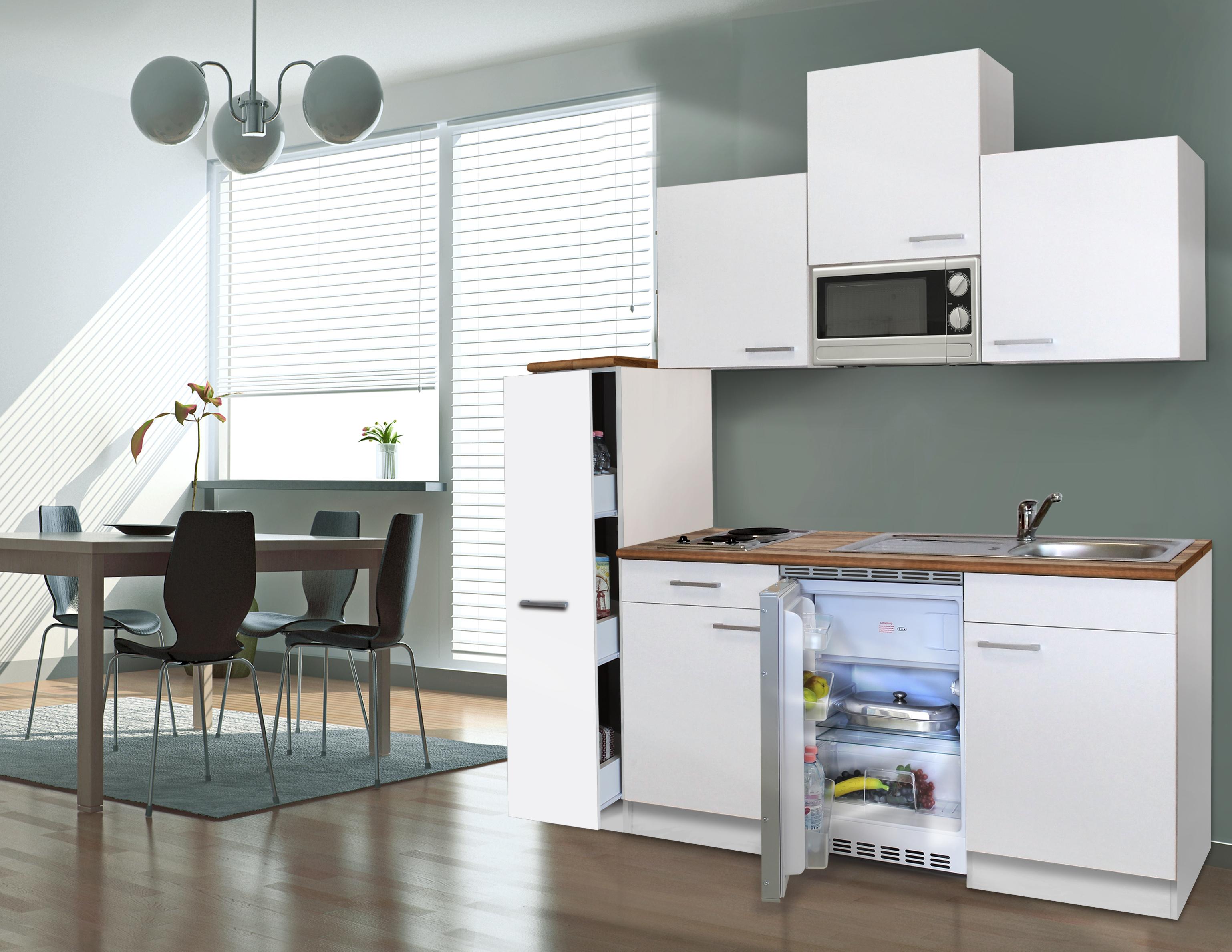 respekta Küche Singleküche Küchenzeile Küchenblock Einbau Miniküche 180 cm weiß
