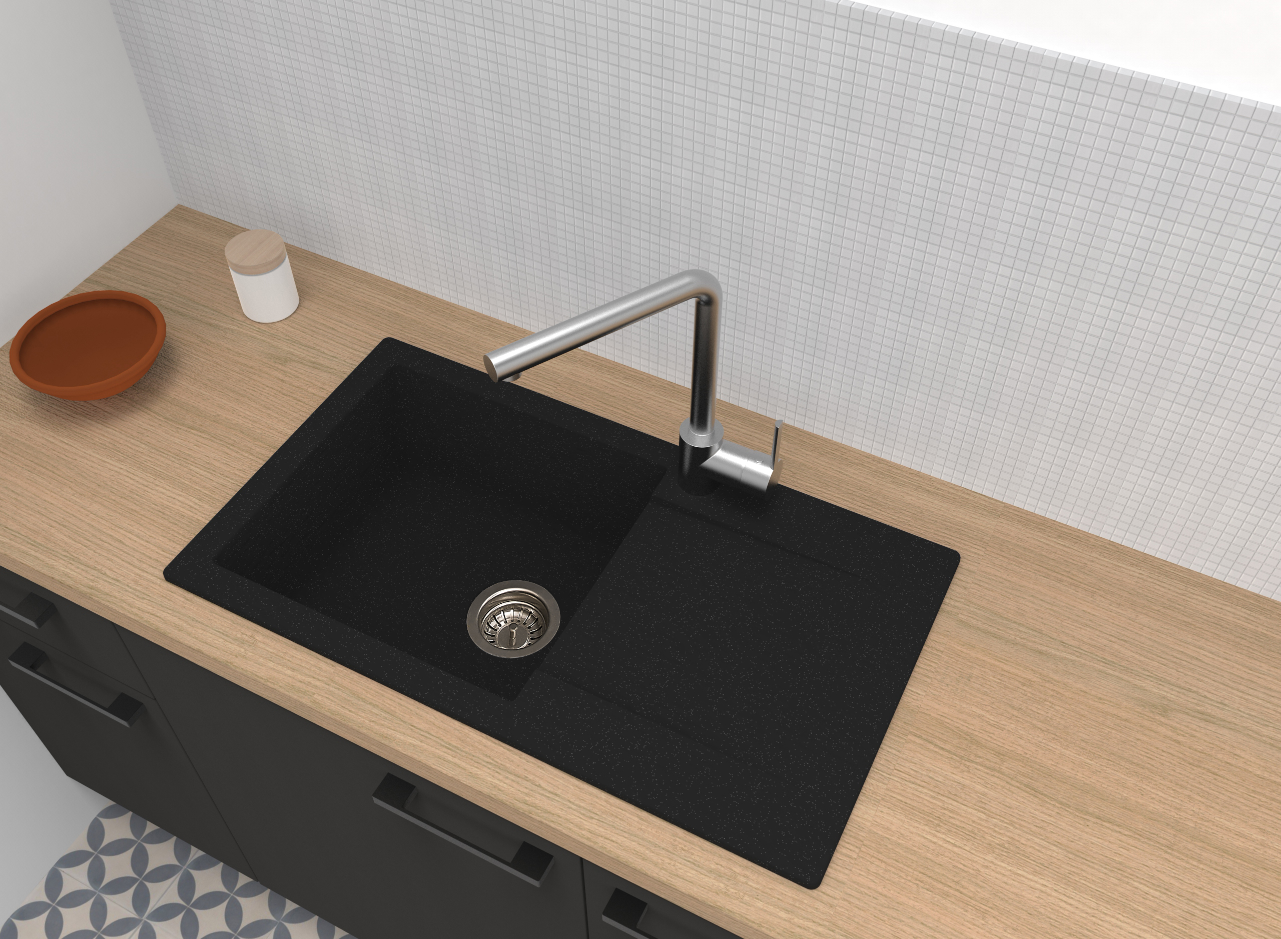 Spüle Küchenspüle Einbauspüle Granitspüle Mineralite 78 x 44 schwarz respekta