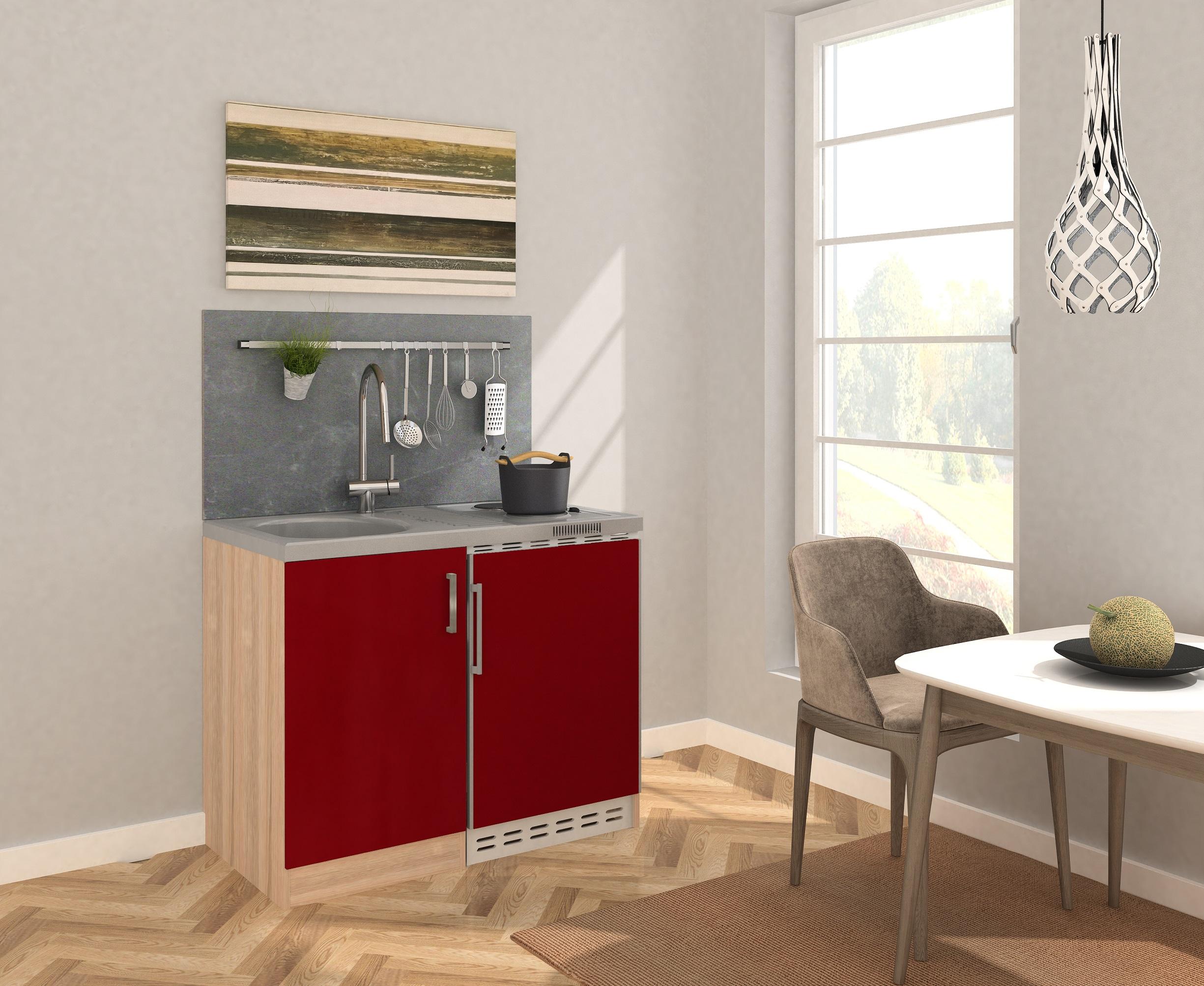 respekta Miniküche Küche Küchenzeile Pantry Küchenblock 100 cm Eiche Sägerau rot
