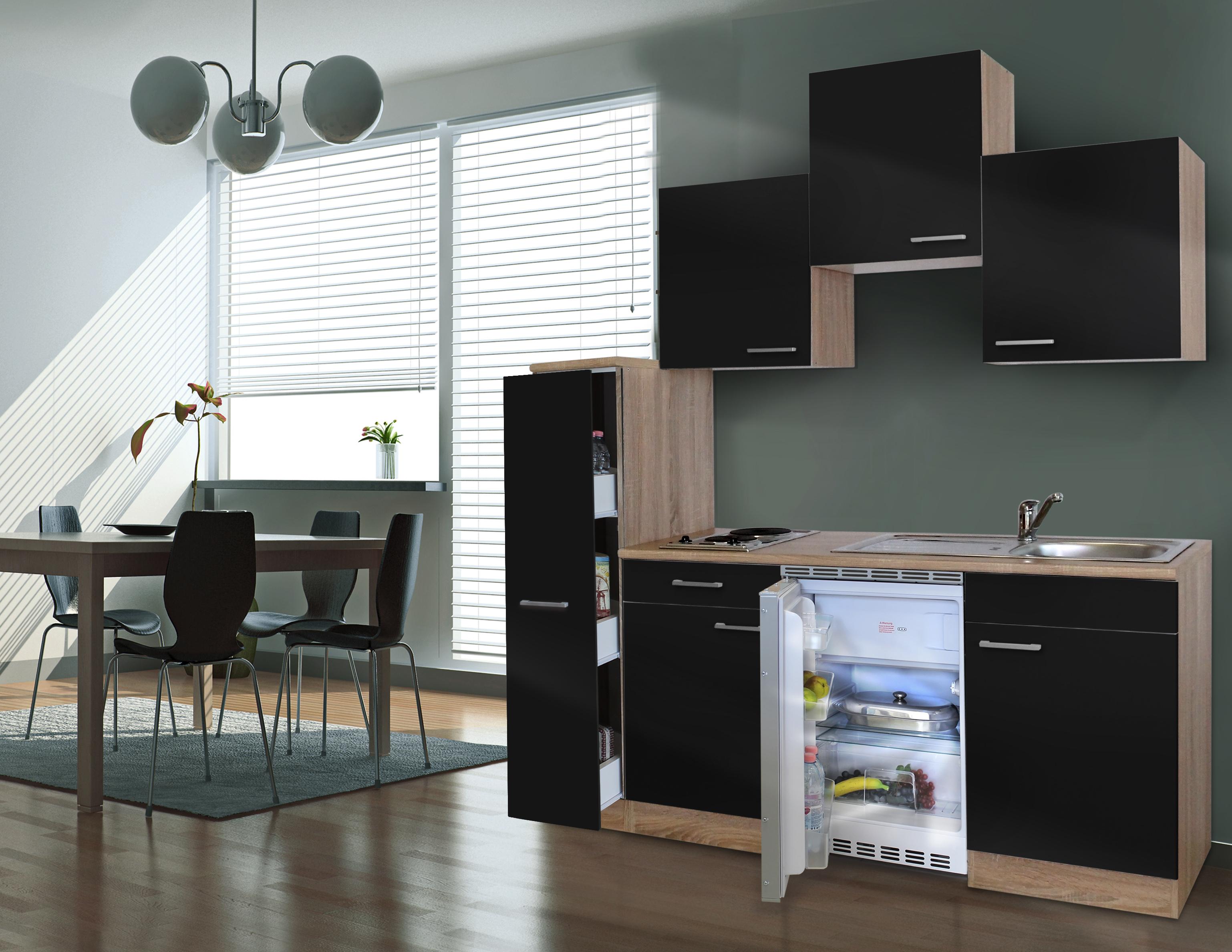 respekta Küche Singleküche Küchenzeile Küchenblock 180 cm Eiche Sägerau schwarz