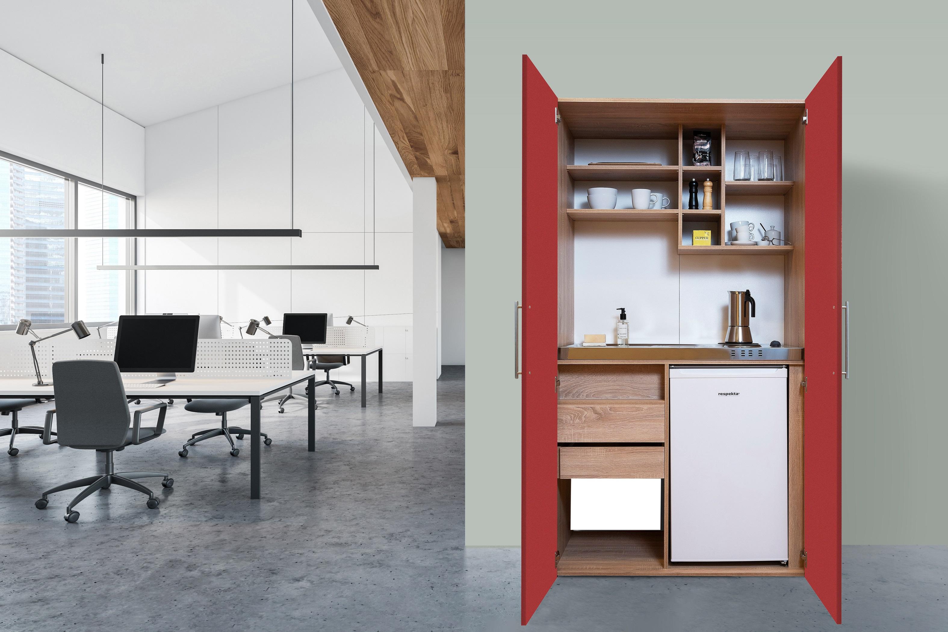 respekta Schrankküche Küche Miniküche Küchenzeile Büro Küchenblock Eiche rot