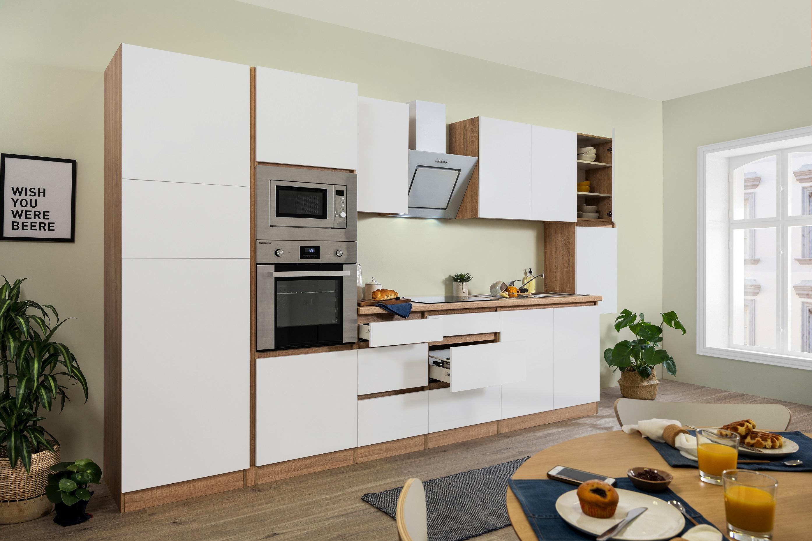 respekta Küche Küchenzeile Küchenblock grifflose Küche 385 cm Eiche Sonoma weiß