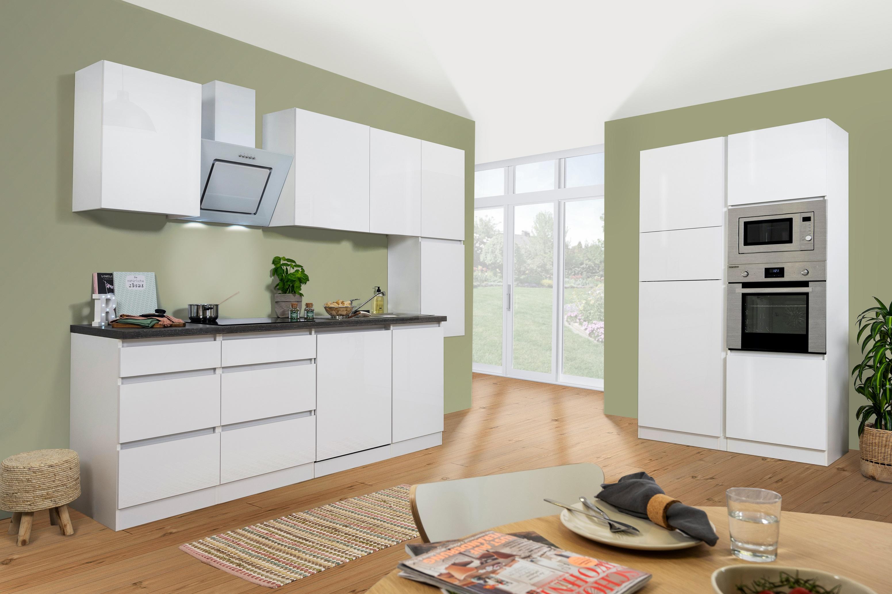respekta Küchenzeile Küche Küchenblock grifflose Küche Einbauküche 395 cm weiß