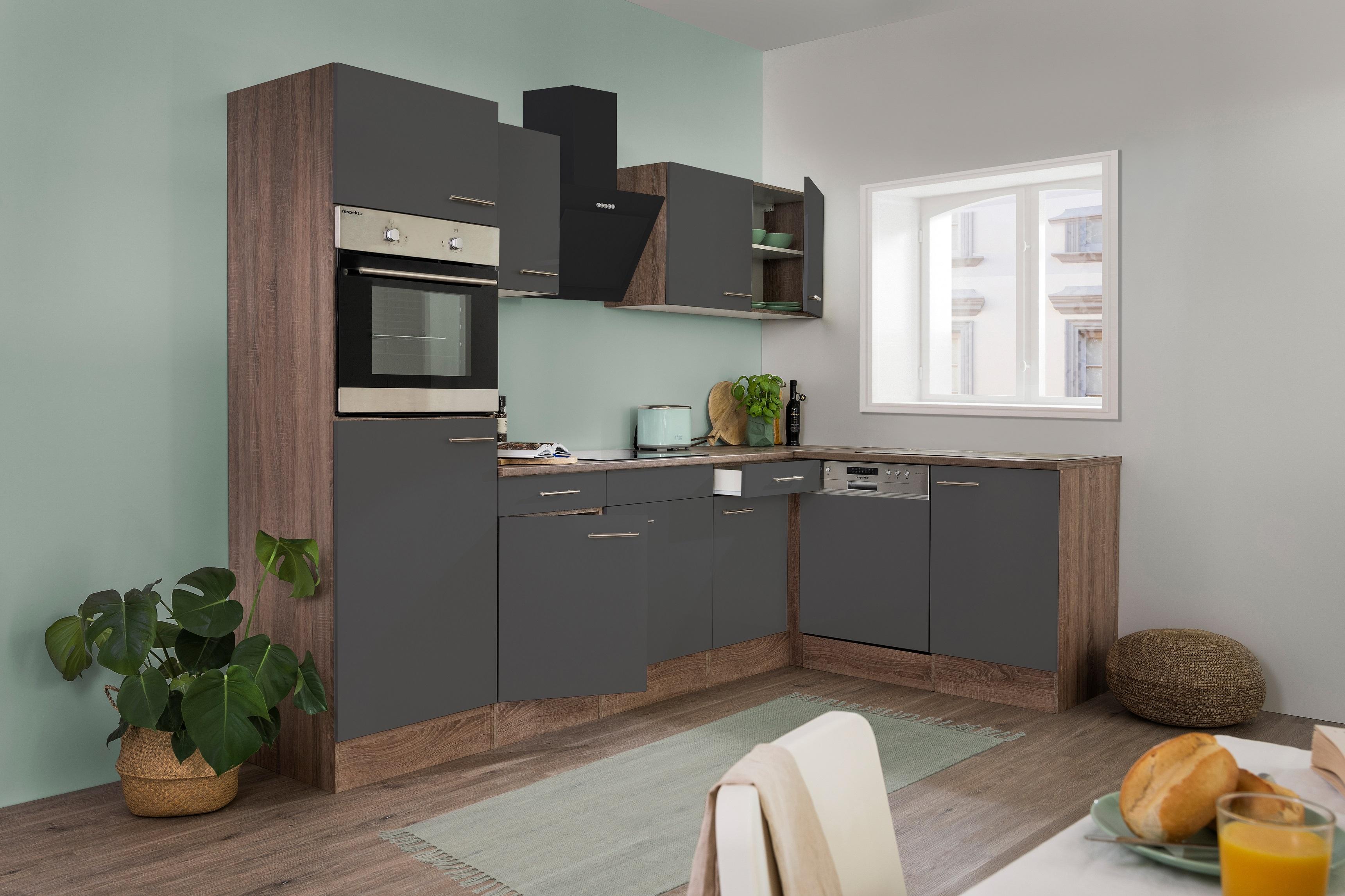 respekta Küchenzeile Küche Winkelküche L-Form Küche Eiche York grau 280x172cm