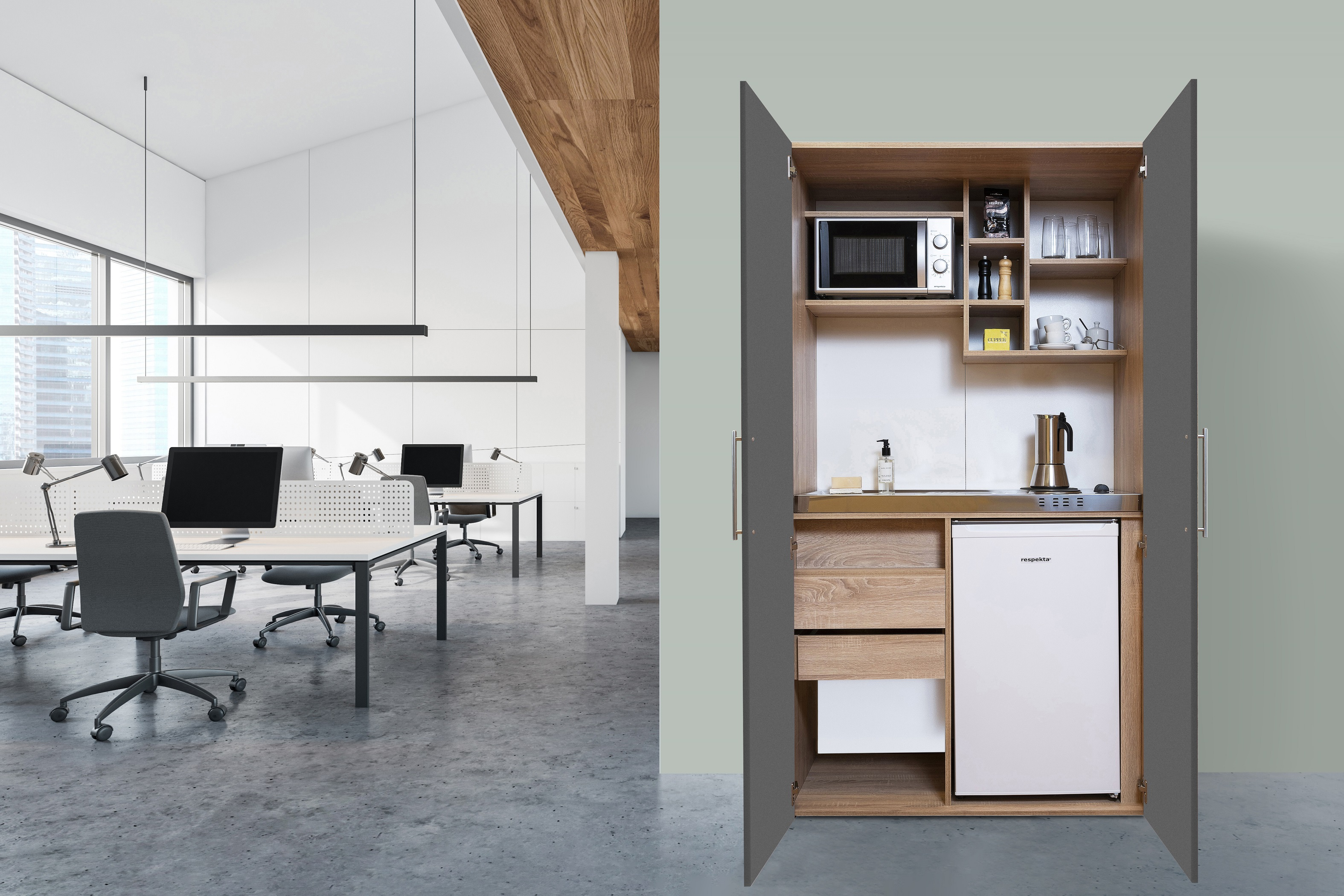 respekta Schrankküche Küche Miniküche Küchenzeile Büro Küchenblock Eiche grau