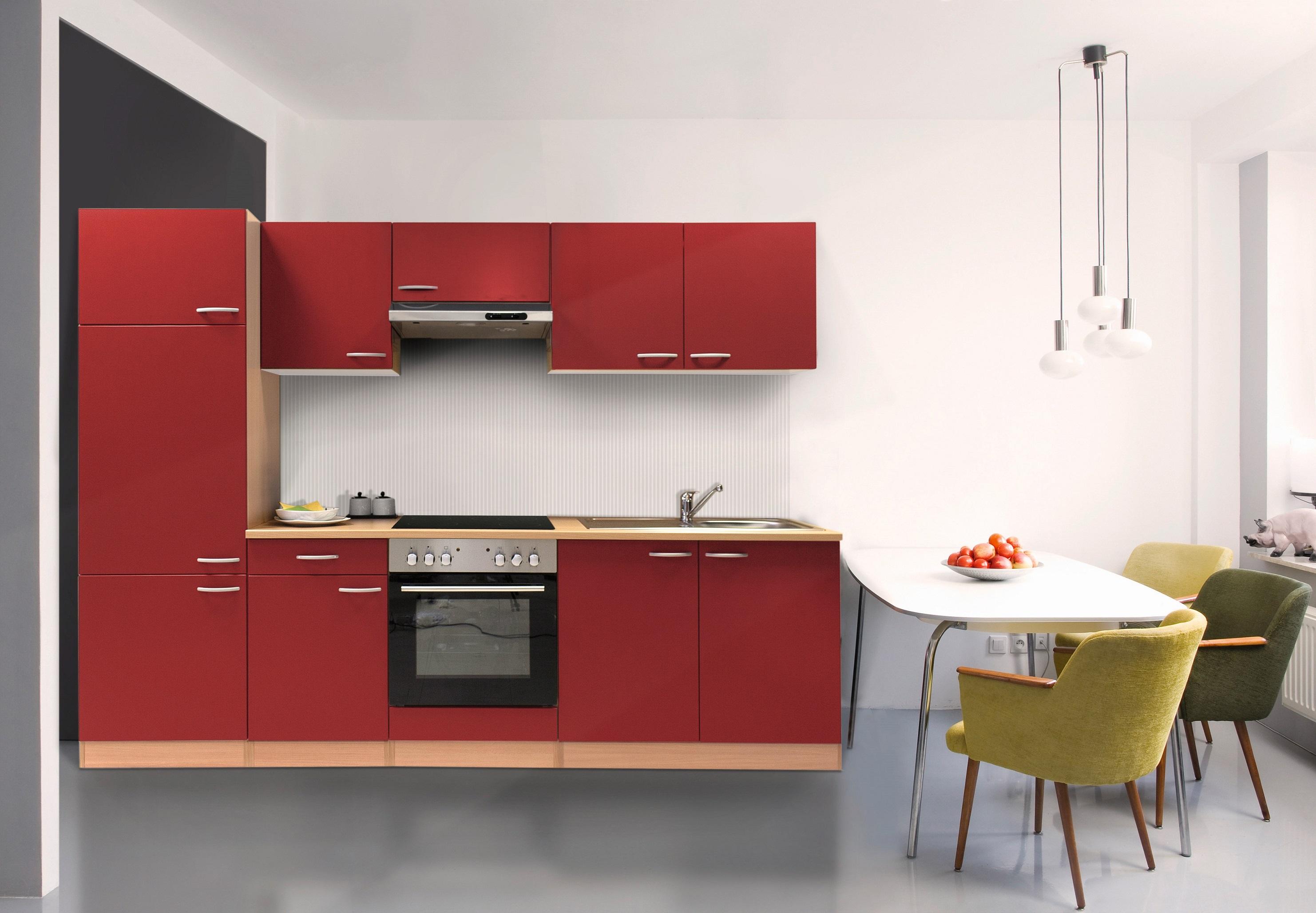 respekta Küche Küchenzeile Küchenblock Einbauküche Leerblock 270 cm Buche rot