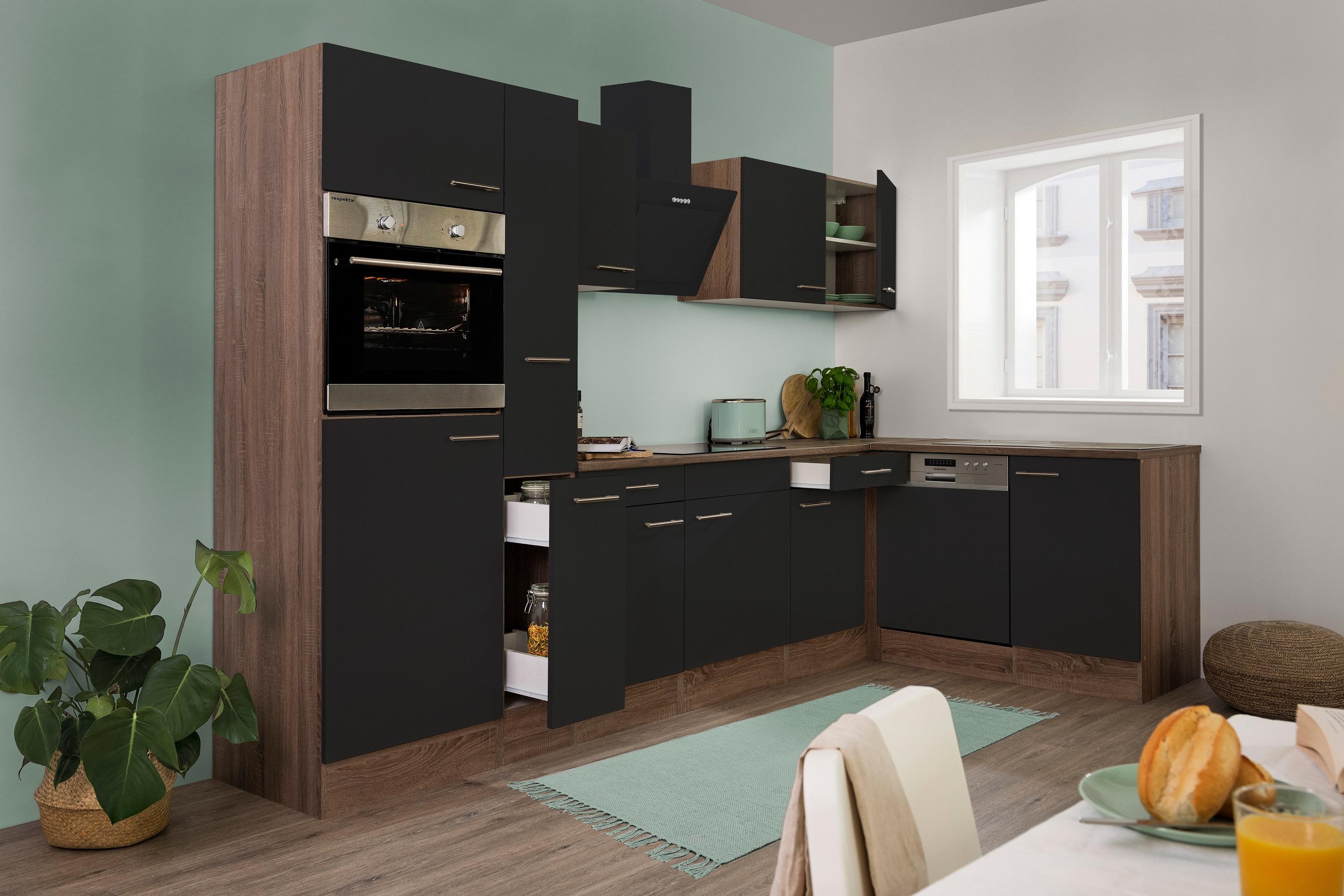 respekta Küchenzeile Küche Winkelküche L-Form Küche Eiche York schwarz 310x172cm