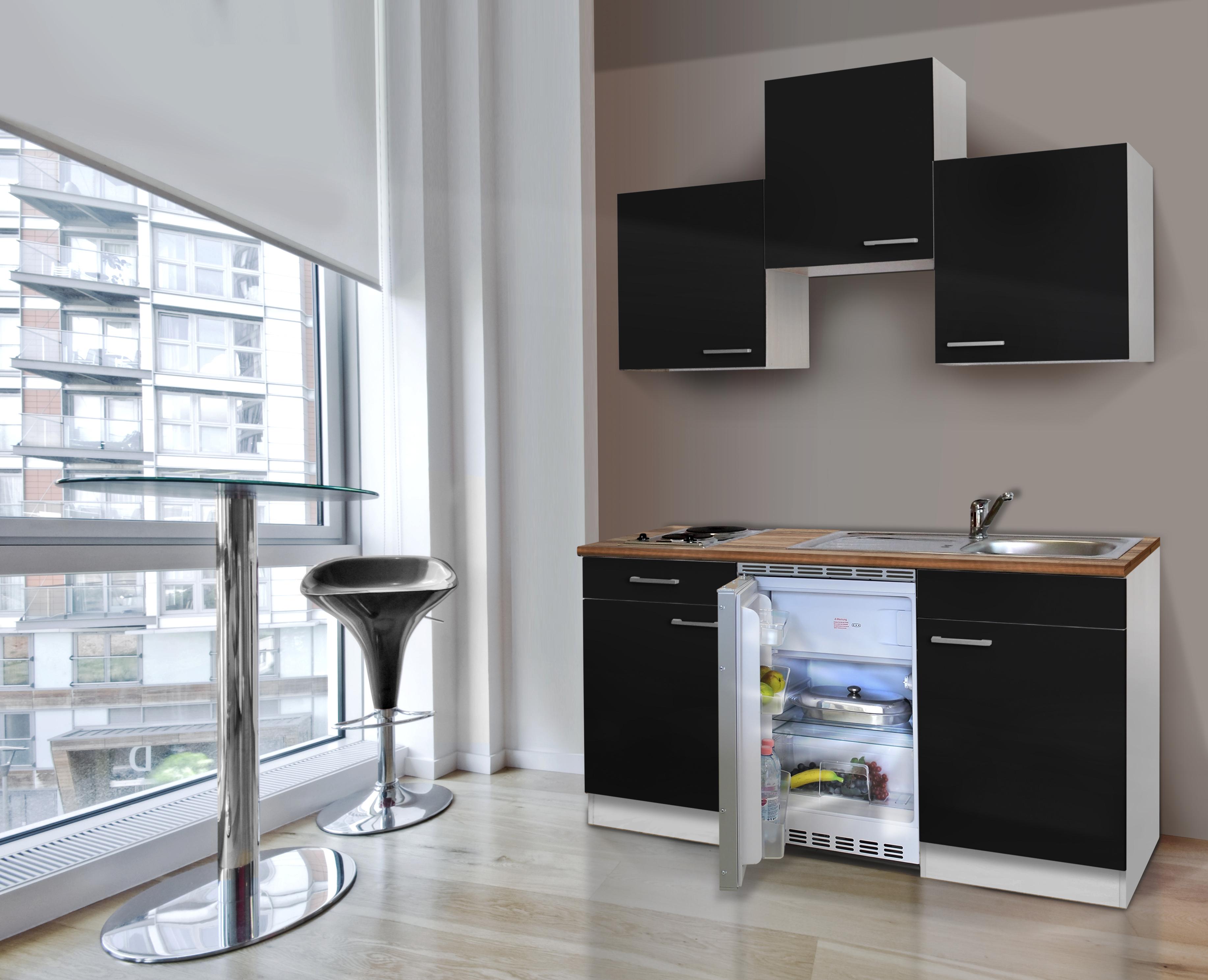 respekta Küche Miniküche Singleküche Küchenzeile Küchenblock 150 cm weiß schwarz