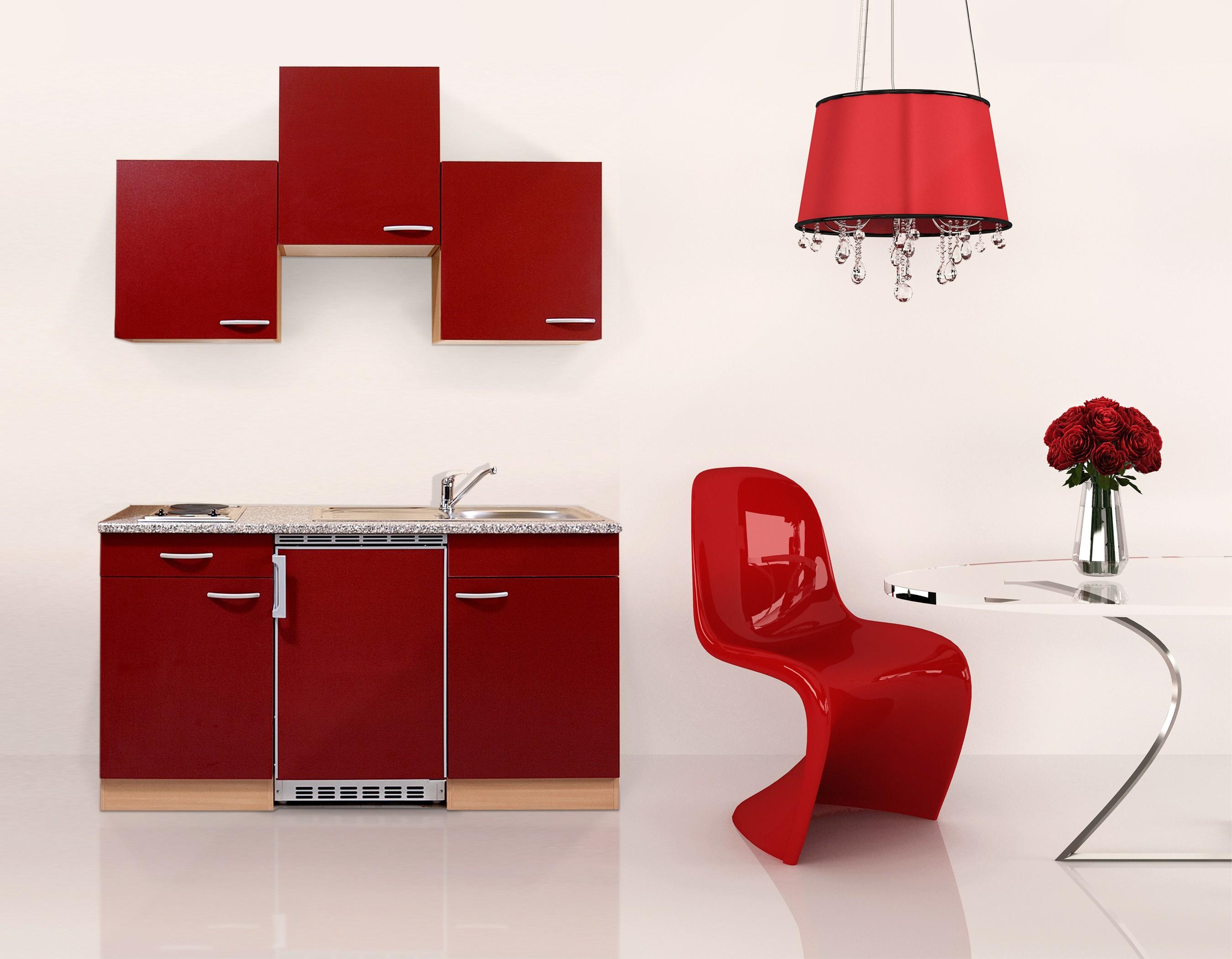 respekta Küche Miniküche Singleküche Küchenzeile Küchenblock 150 cm Buche rot