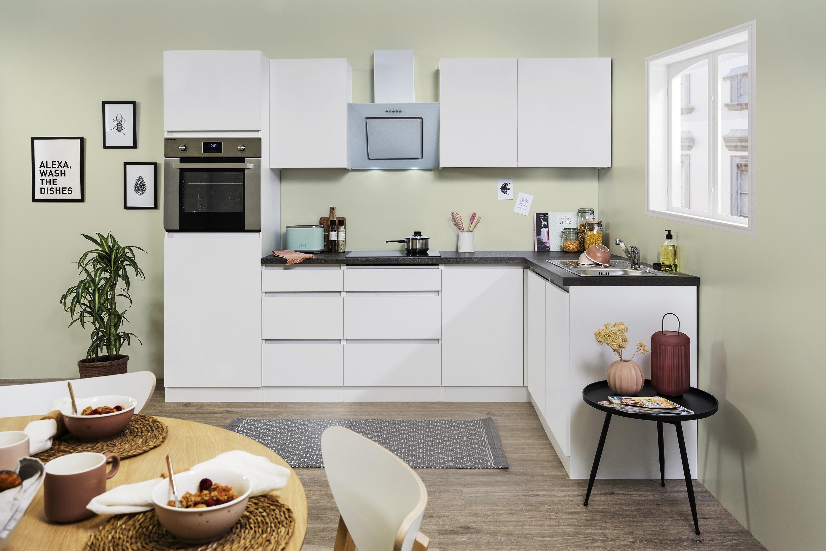 Winkelküche Küchenzeile Küche L-Form Küche grifflos weiß 280 x 172 cm respekta