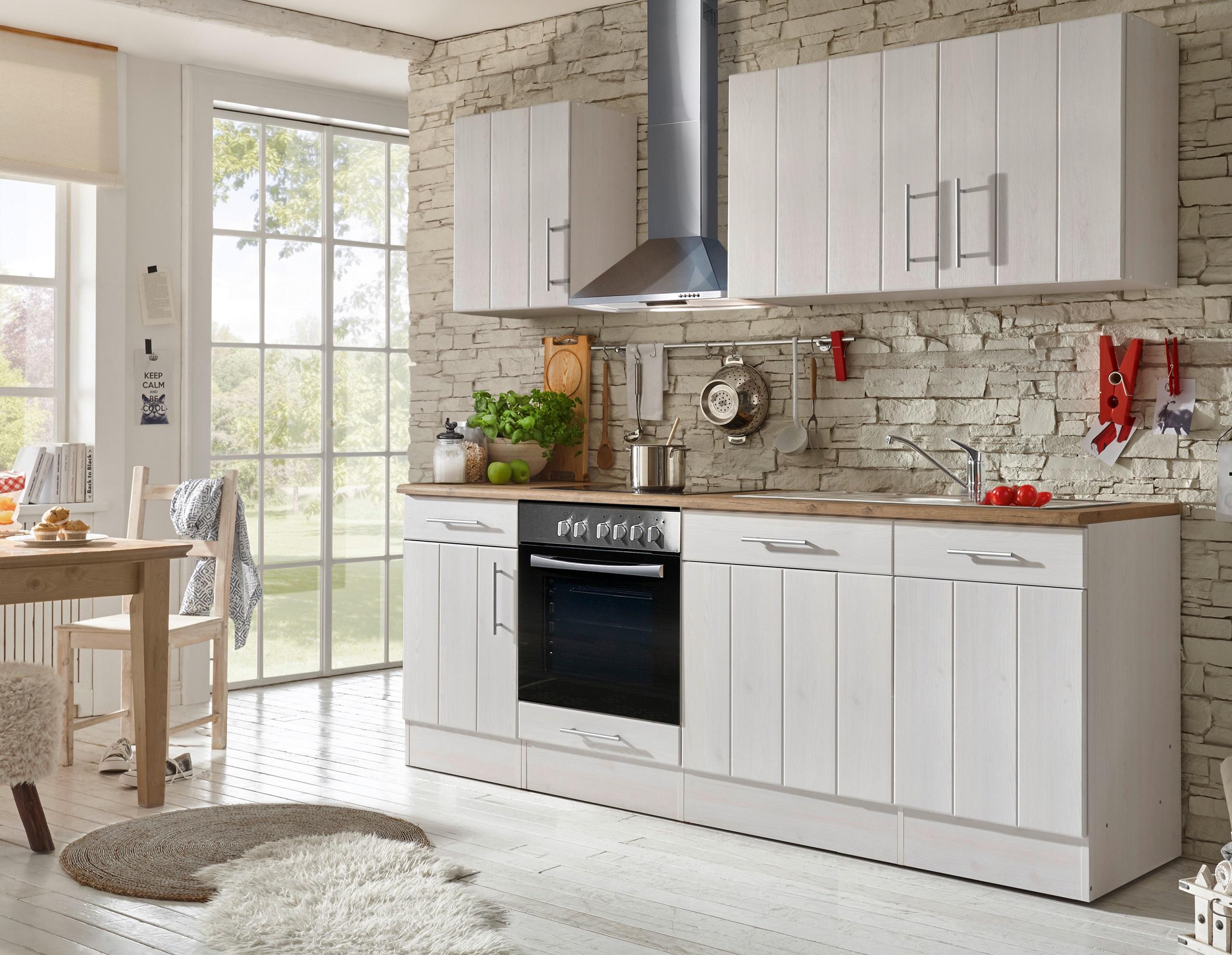 respekta Küche Küchenzeile Küchenblock Landhausküche Einbauküche 220 cm weiß