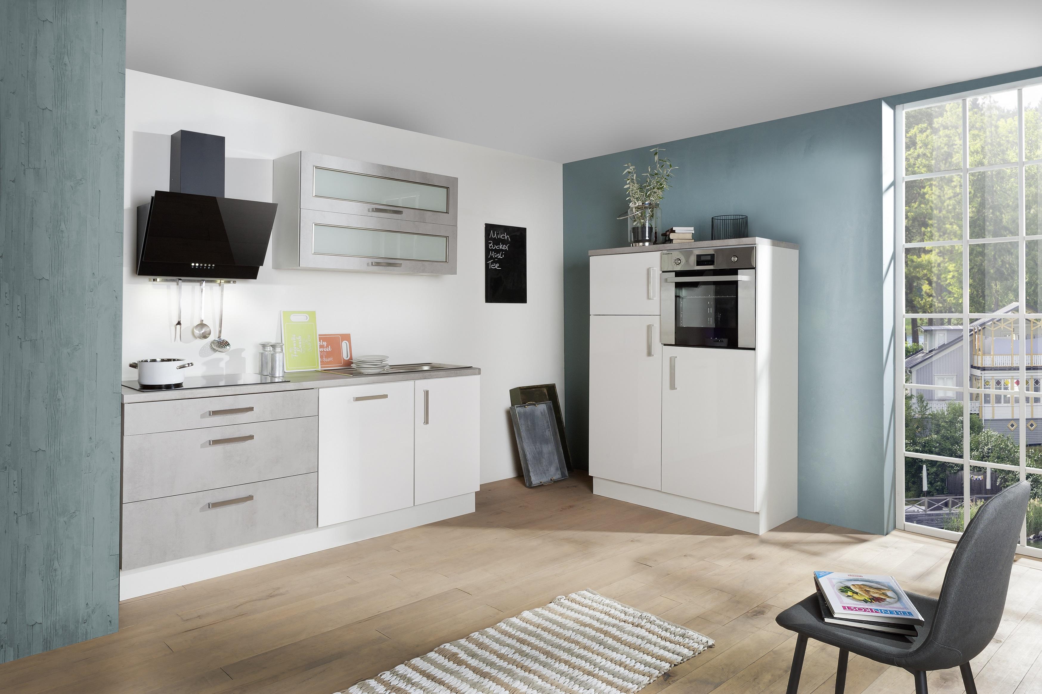 respekta Küche Küchenzeile Küchenblock Einbauküche weiß Hochglanz Beton 320 cm