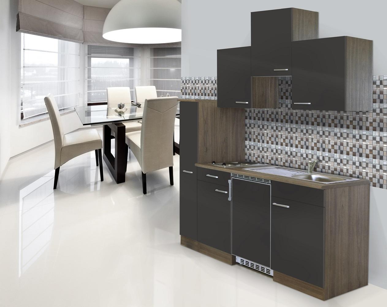 respekta Küche Singleküche Küchenzeile Einbau Küchenblock 180 cm Eiche York grau