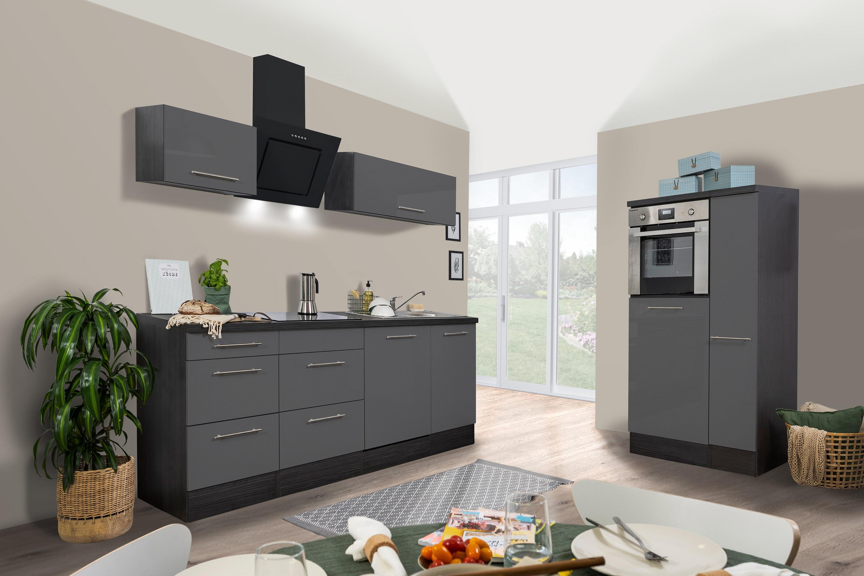 respekta Küchenzeile Küche Küchenblock Einbauküche 310cm Hochglanz Eiche grau