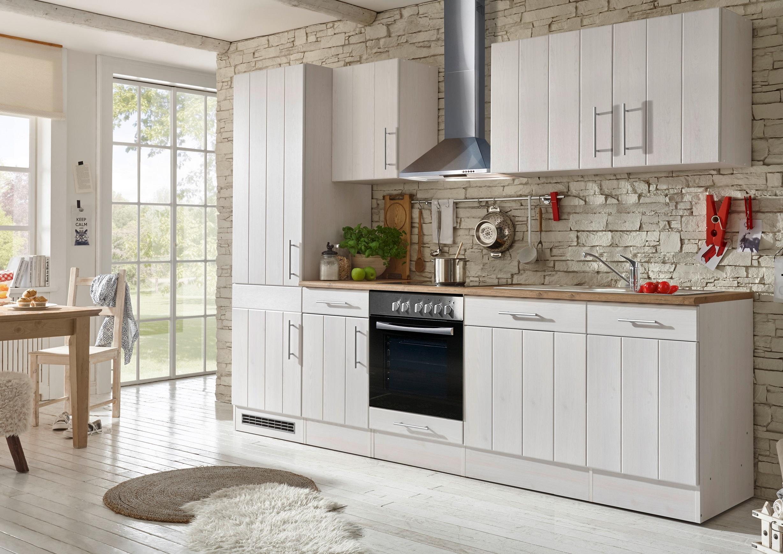 respekta Küche Küchenzeile Küchenblock Landhausküche Einbauküche 280 cm weiß
