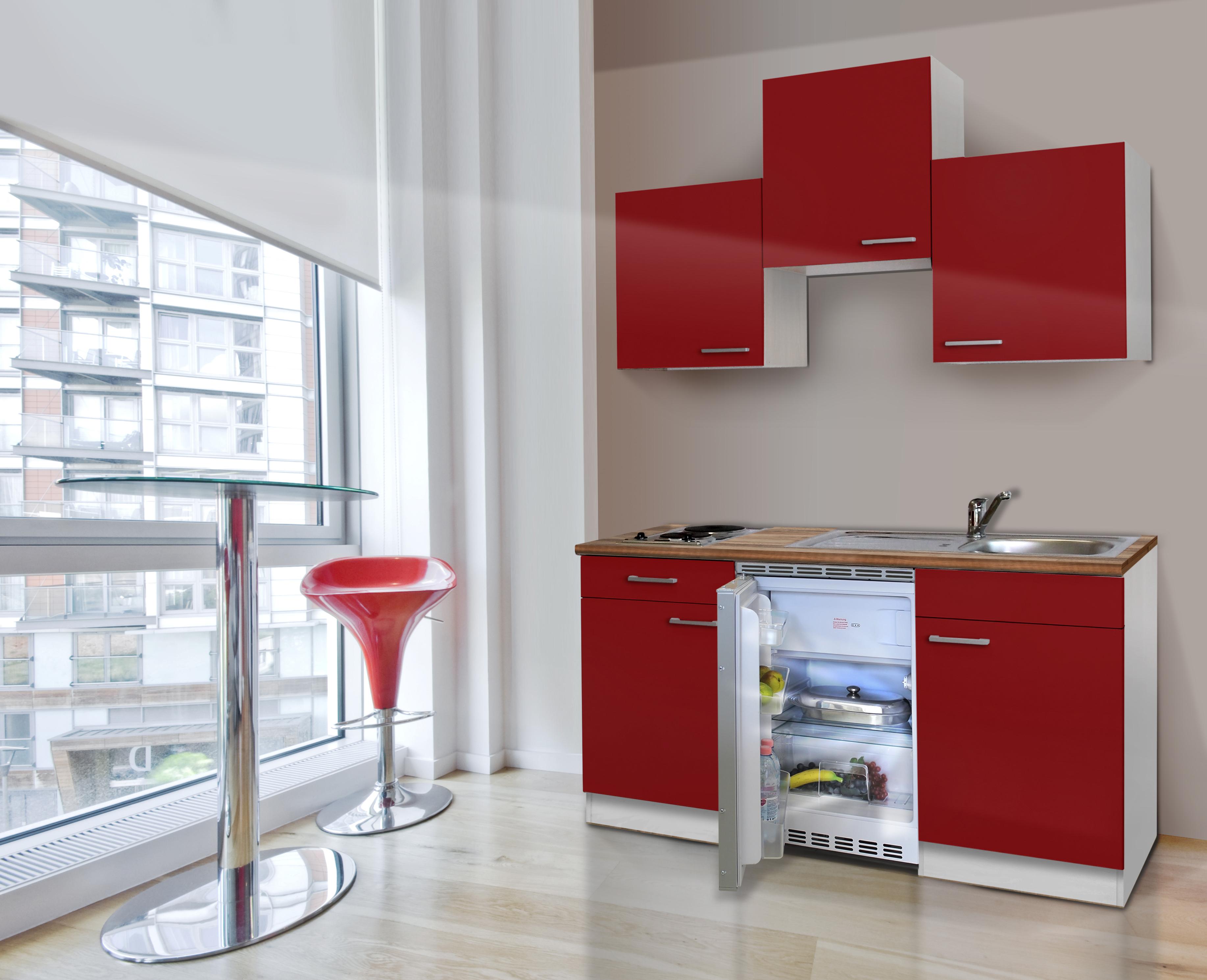 respekta Küche Miniküche Singleküche Küchenzeile Küchenblock 150 cm weiß rot