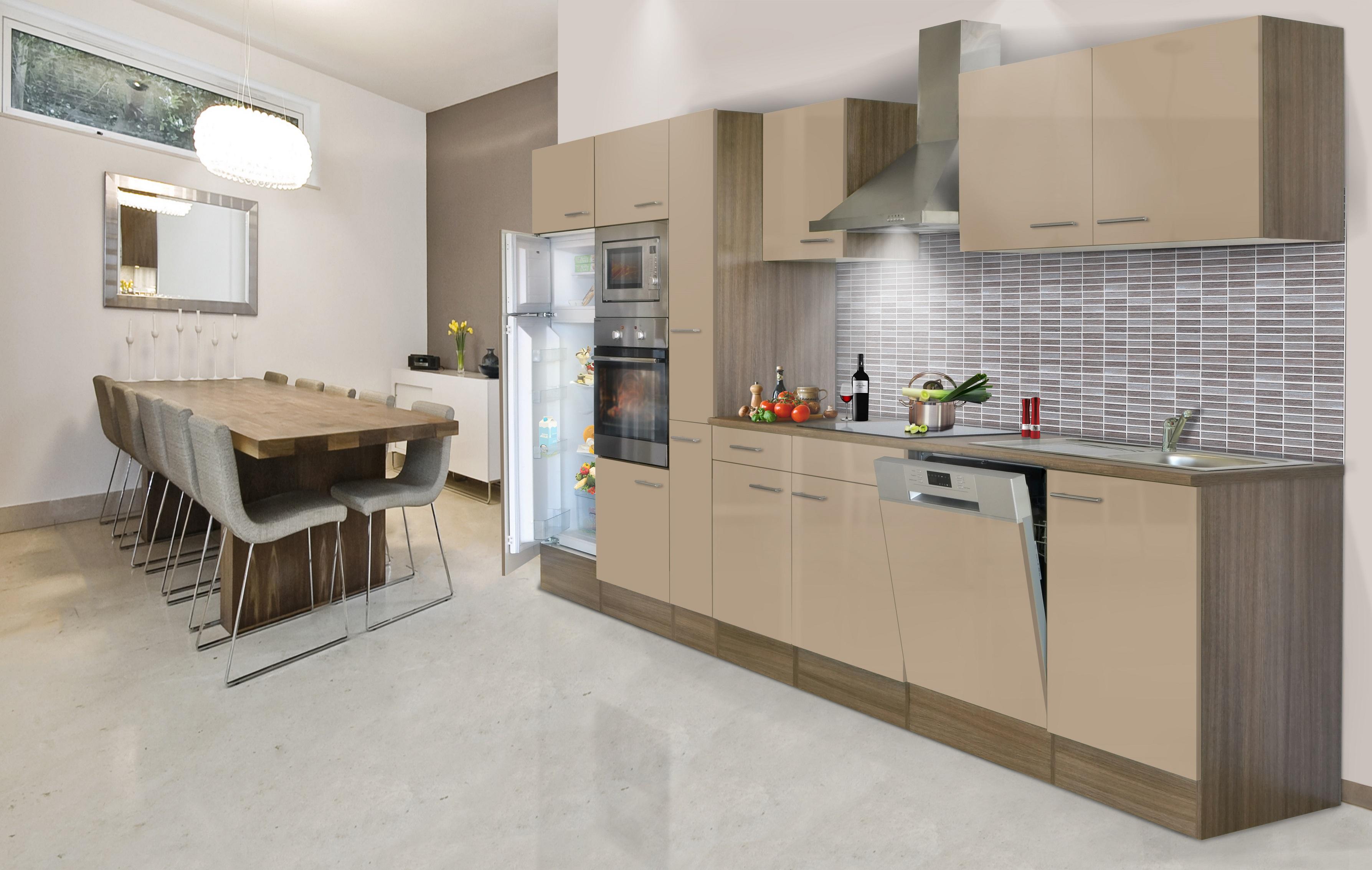 respekta Küche Küchenzeile Küchenblock Leerblock 370 cm Eiche York cappuccino
