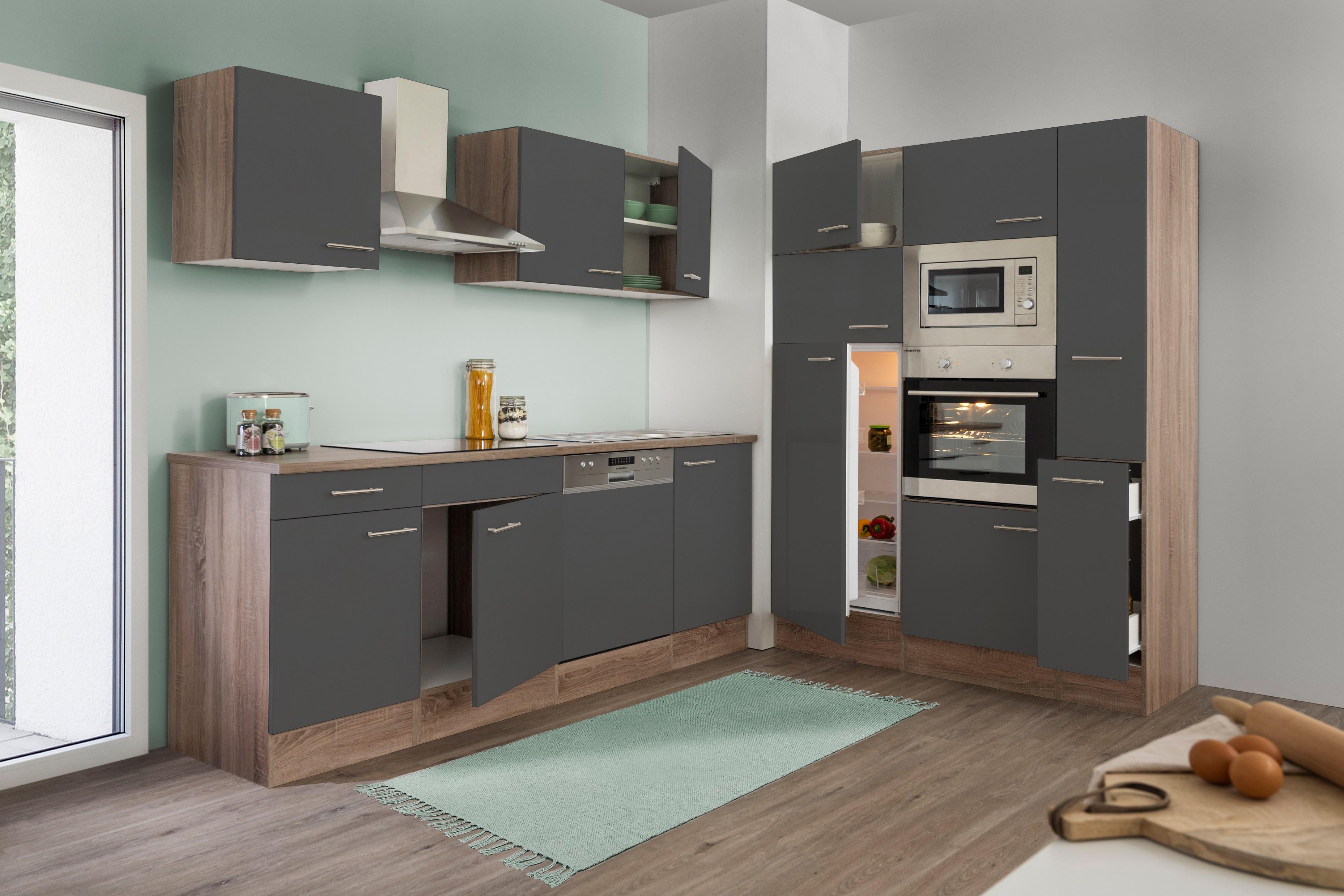 respekta Küche Küchenzeile Küchenblock Leerblock 370 cm Eiche York grau Glanz