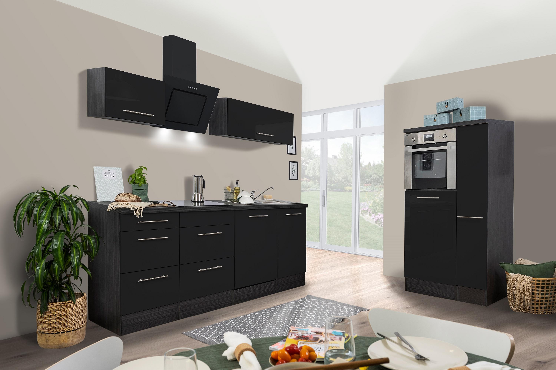 respekta Küchenzeile Küche Küchenblock Einbauküche 310cm Hochglanz Eiche schwarz