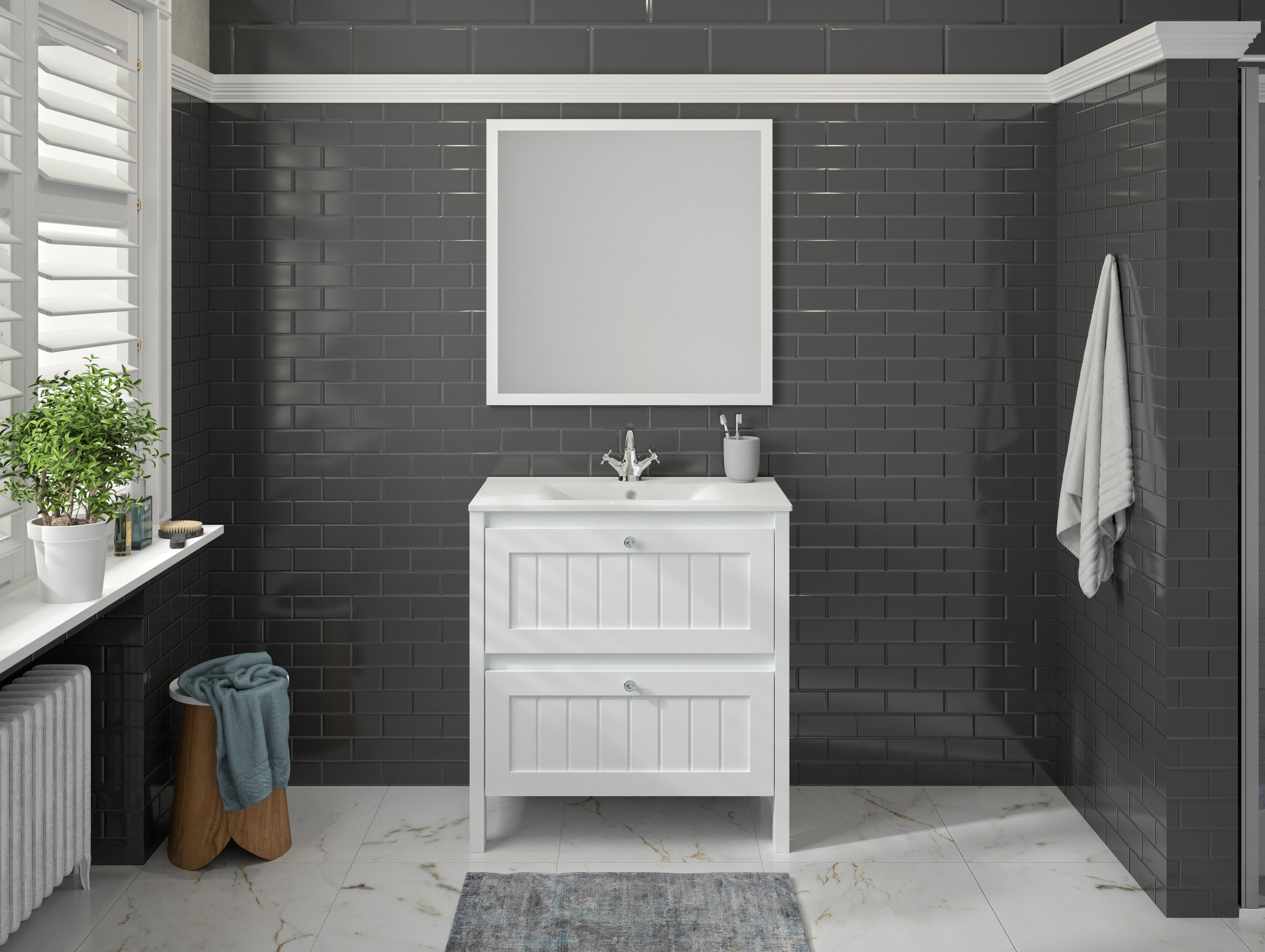 Badmöbel Set Waschbecken Unterschrank Spiegel vormontiert 80 cm weiß ALLIBERT