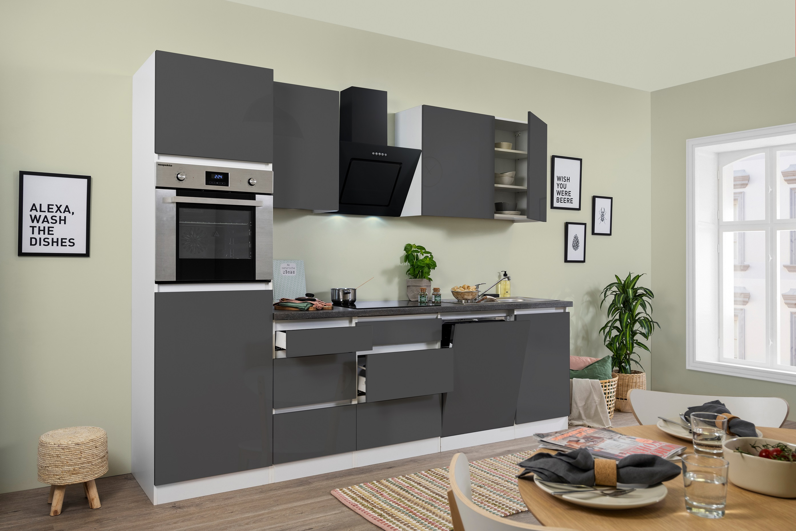 respekta Premium grifflose Küche Leerblock Küchenleerblock 280cm grau Hochglanz