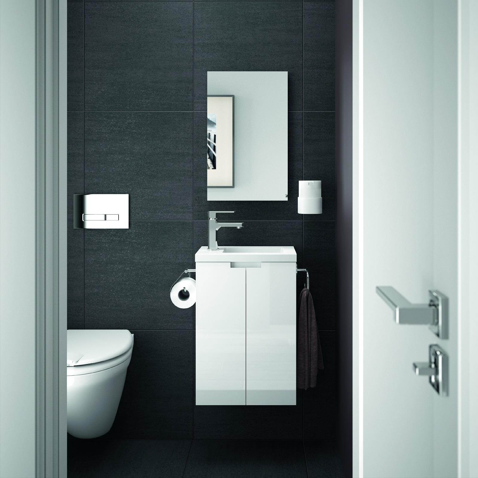 ALLIBERT Badmöbel Gäste-WC Set vormontiert weiß Glanz Waschtisch 40 cm Spiegel