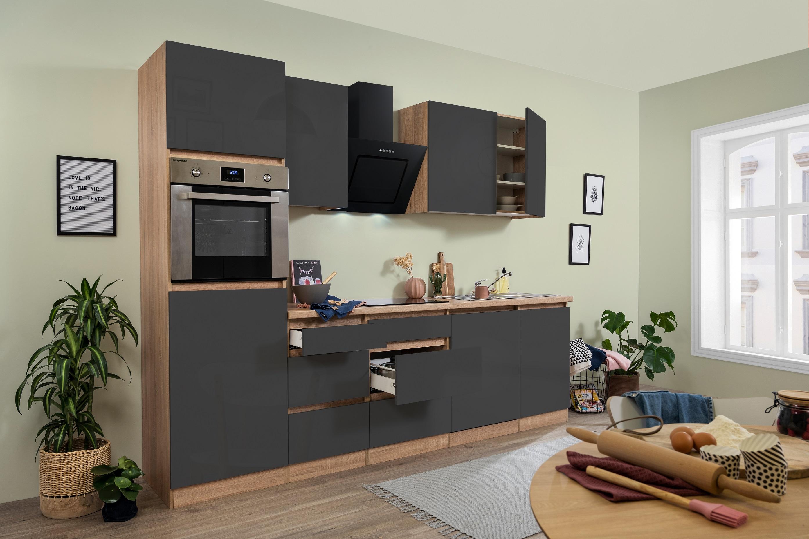 respekta grifflose Küche Leerblock Küchenleerblock 280cm Eiche Sonoma grau glanz