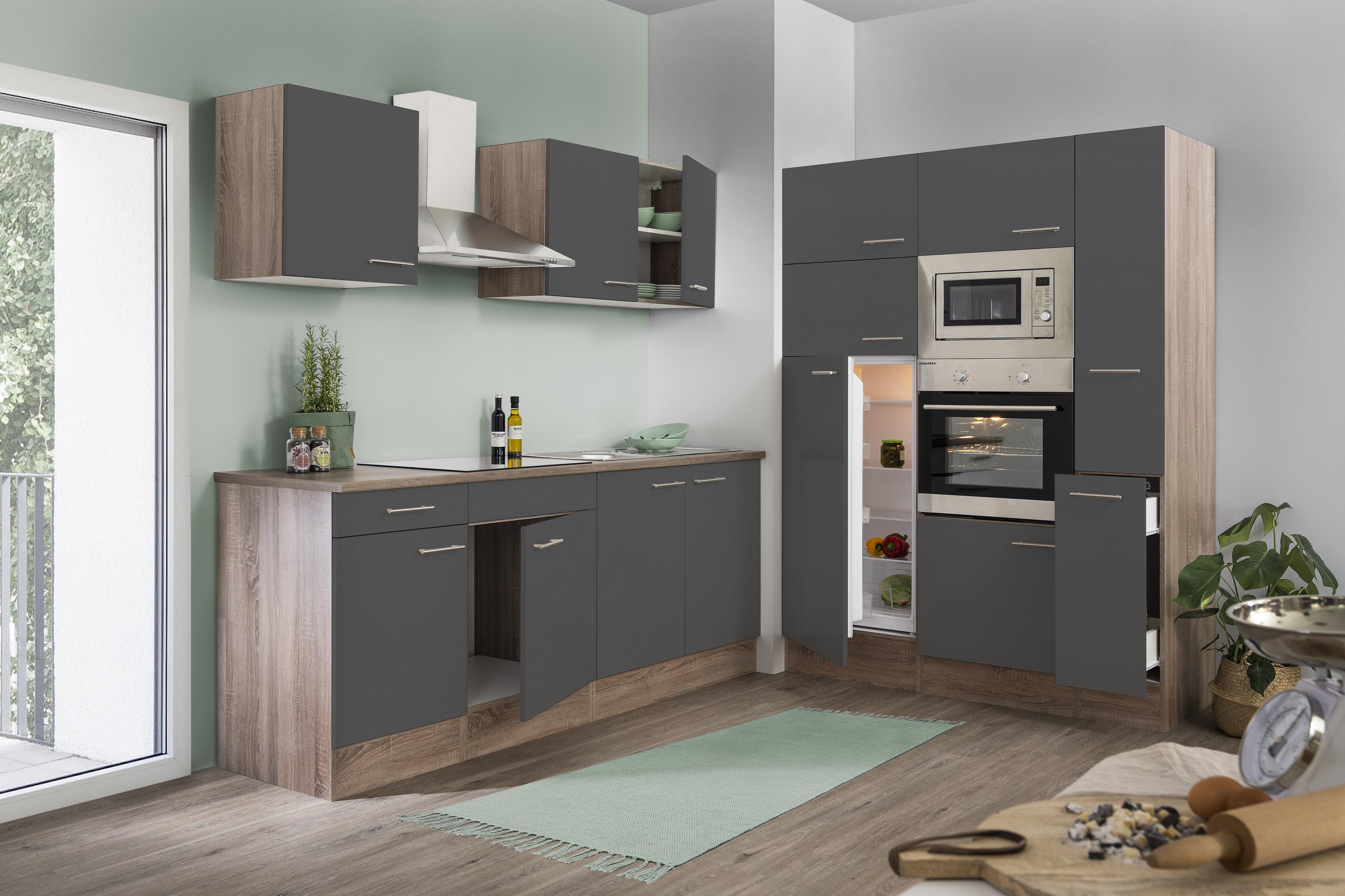 respekta Küche Küchenzeile Küchenblock Leerblock 360 cm Eiche York grau Glanz