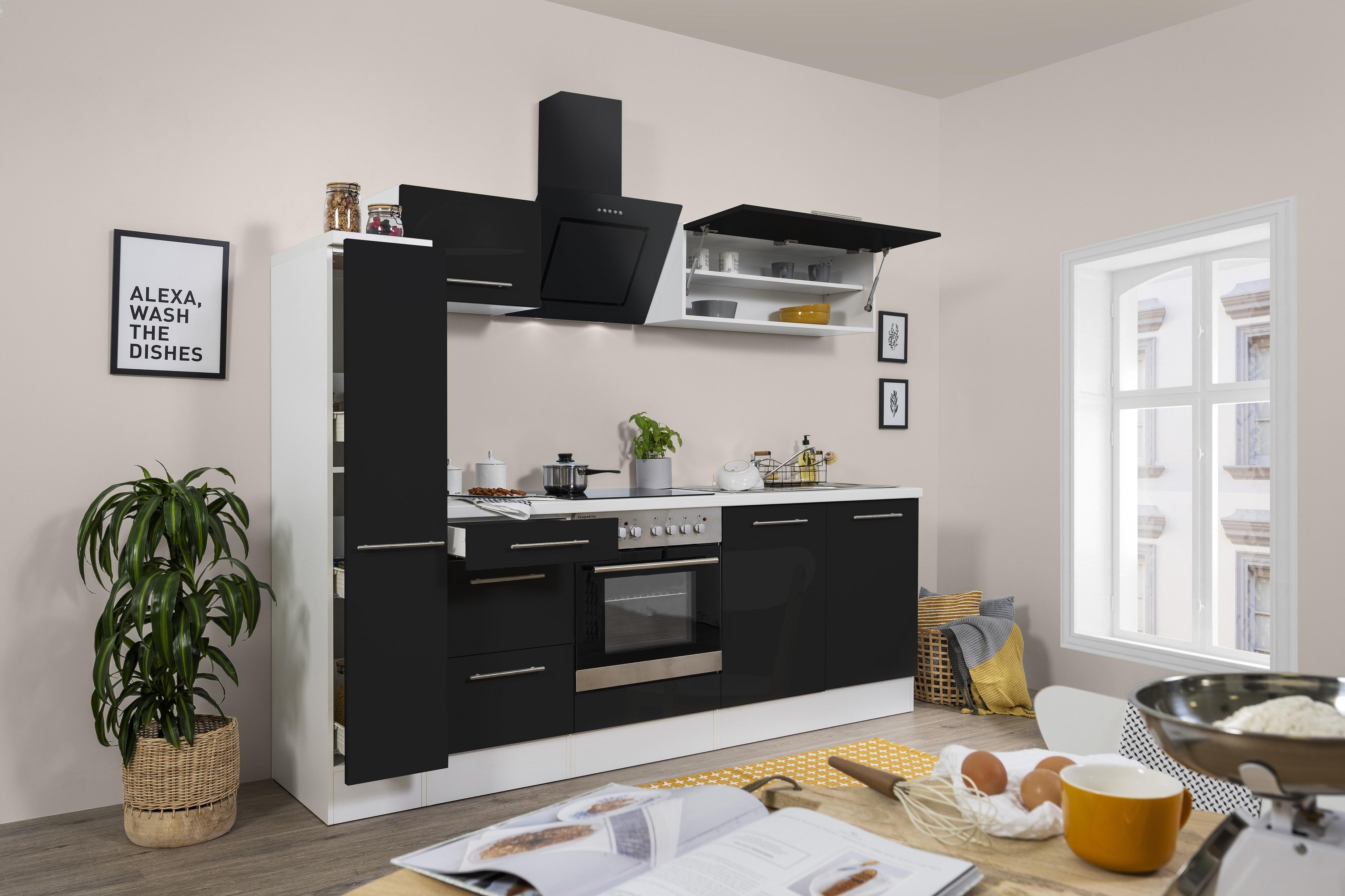 respekta Küchenzeile Küche Küchenblock Einbauküche Hochglanz 240 cm weiß schwarz