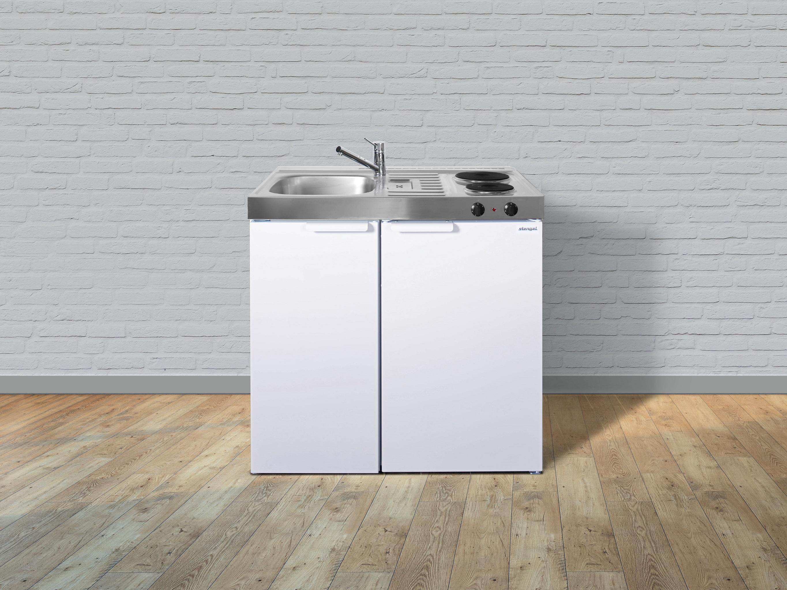 Stengel Miniküche Küche Küchenzeile Singleküche Metallküche Metall 90 cm weiss