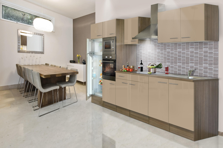 respekta Küche Küchenzeile Küchenblock Leerblock 330 cm Eiche York cappuccino