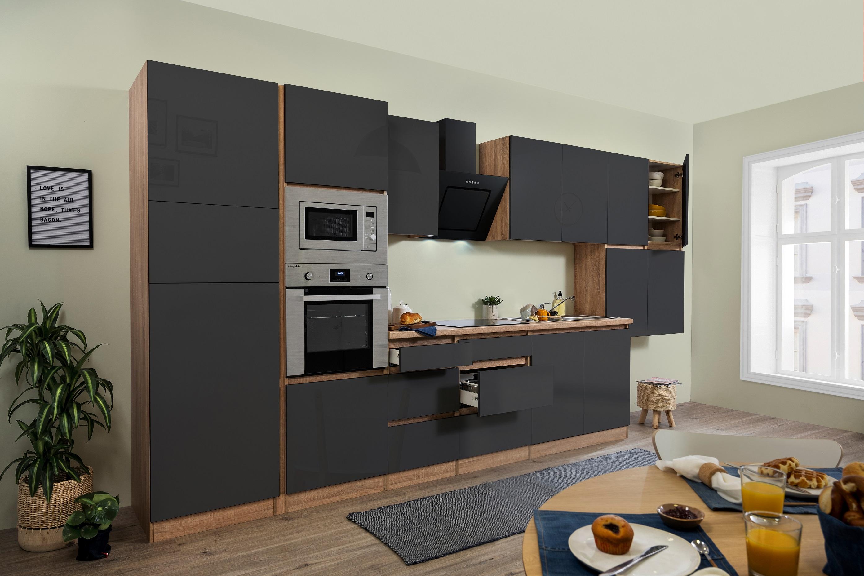 respekta Küche Küchenzeile Küchenblock grifflose Küche 435 cm Eiche Sonoma grau