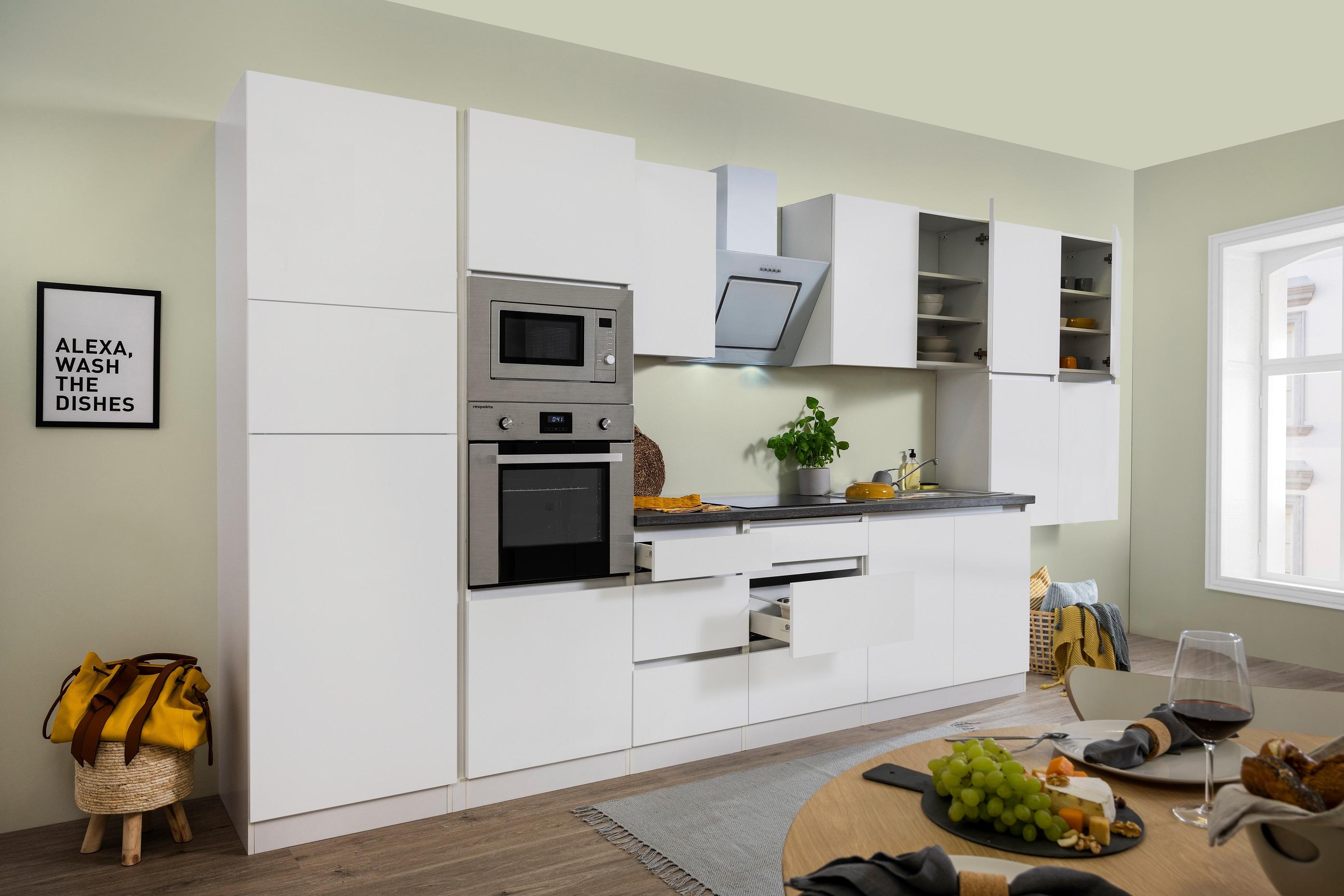 respekta Küche Küchenzeile Küchenblock grifflose Einbauküche 435 cm weiß Matt